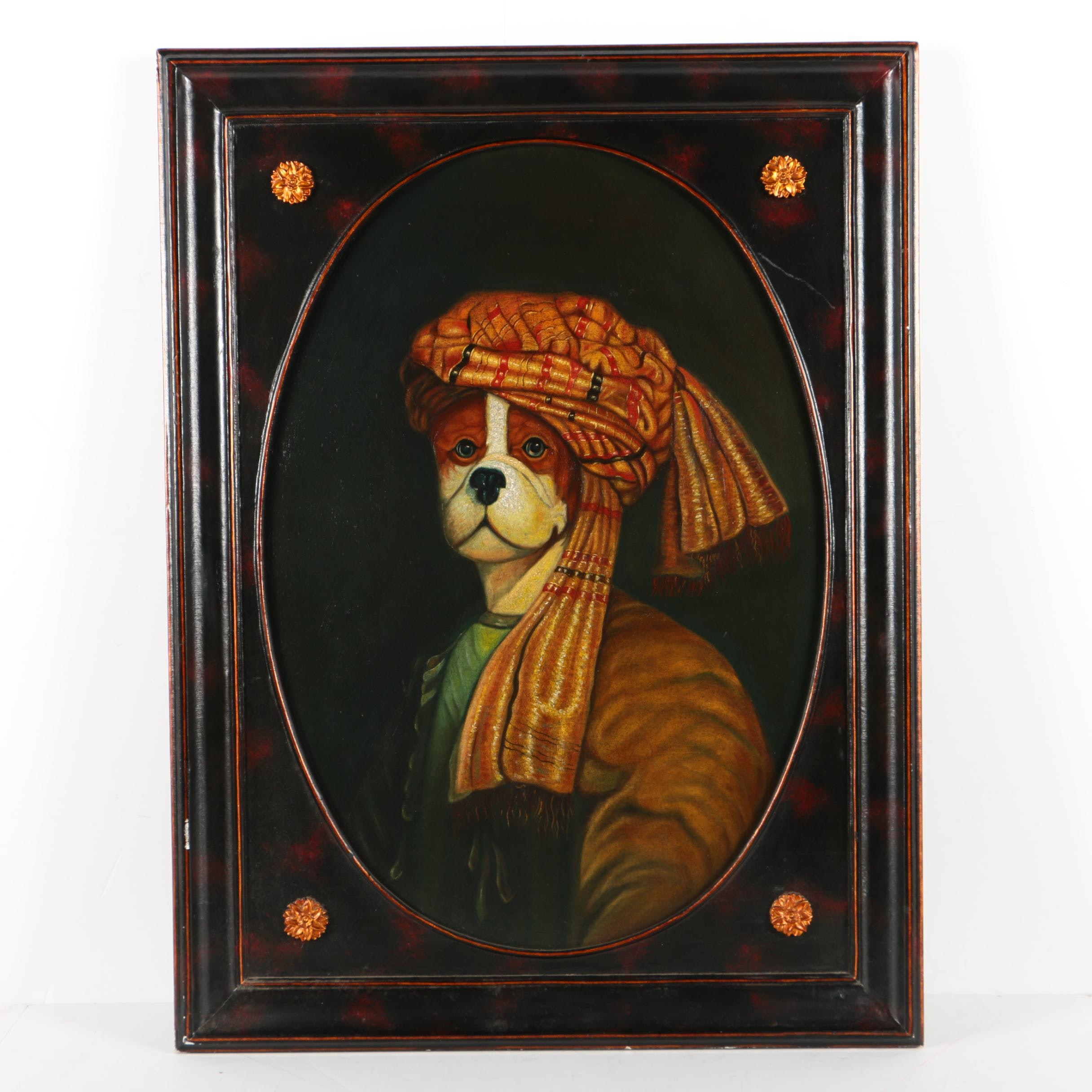 Maitland-Smith Oil on Canvas Board of Anthropomorphic Dog