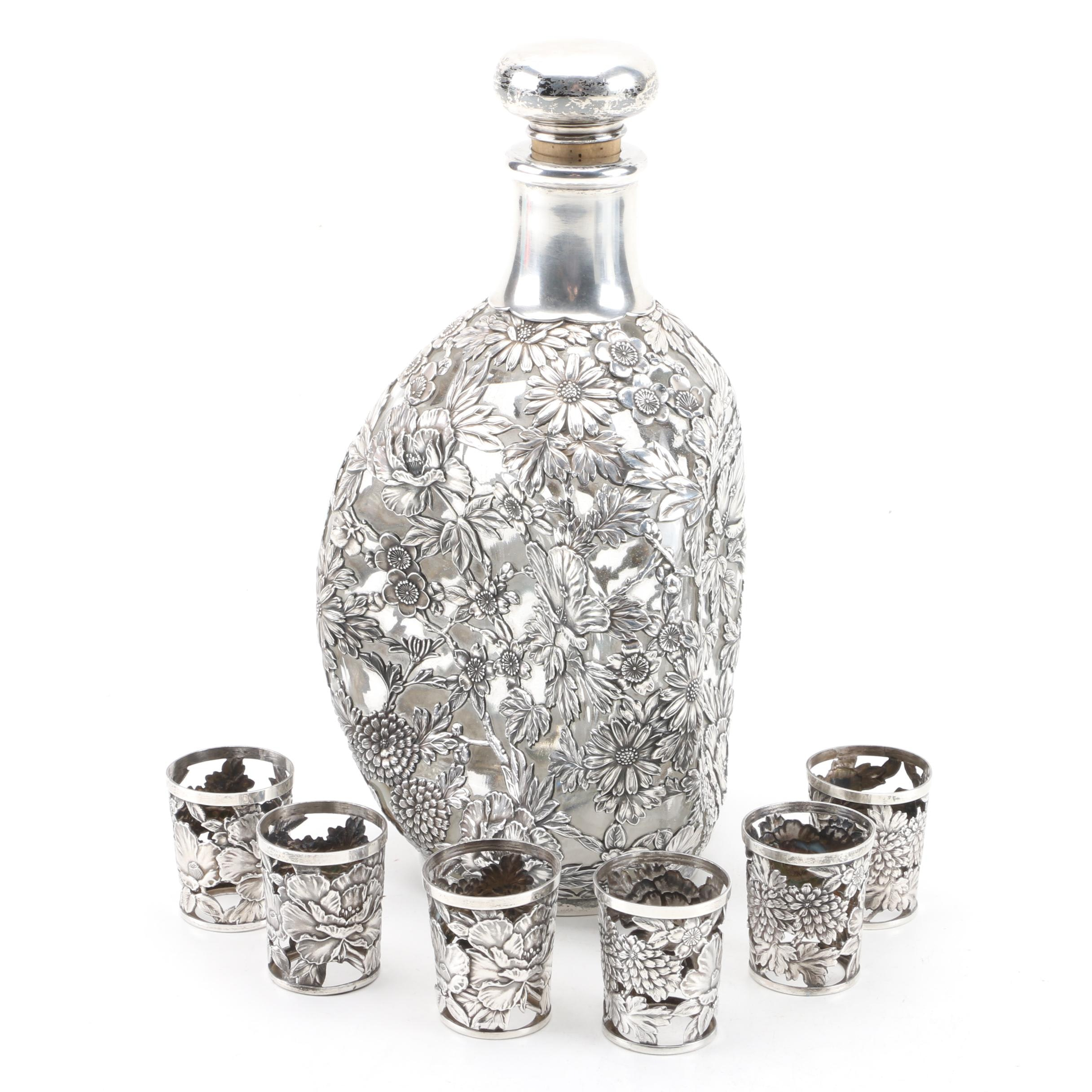 Floral Repoussé 950 Sterling Silver Decanter Case and Shot Glass Cases