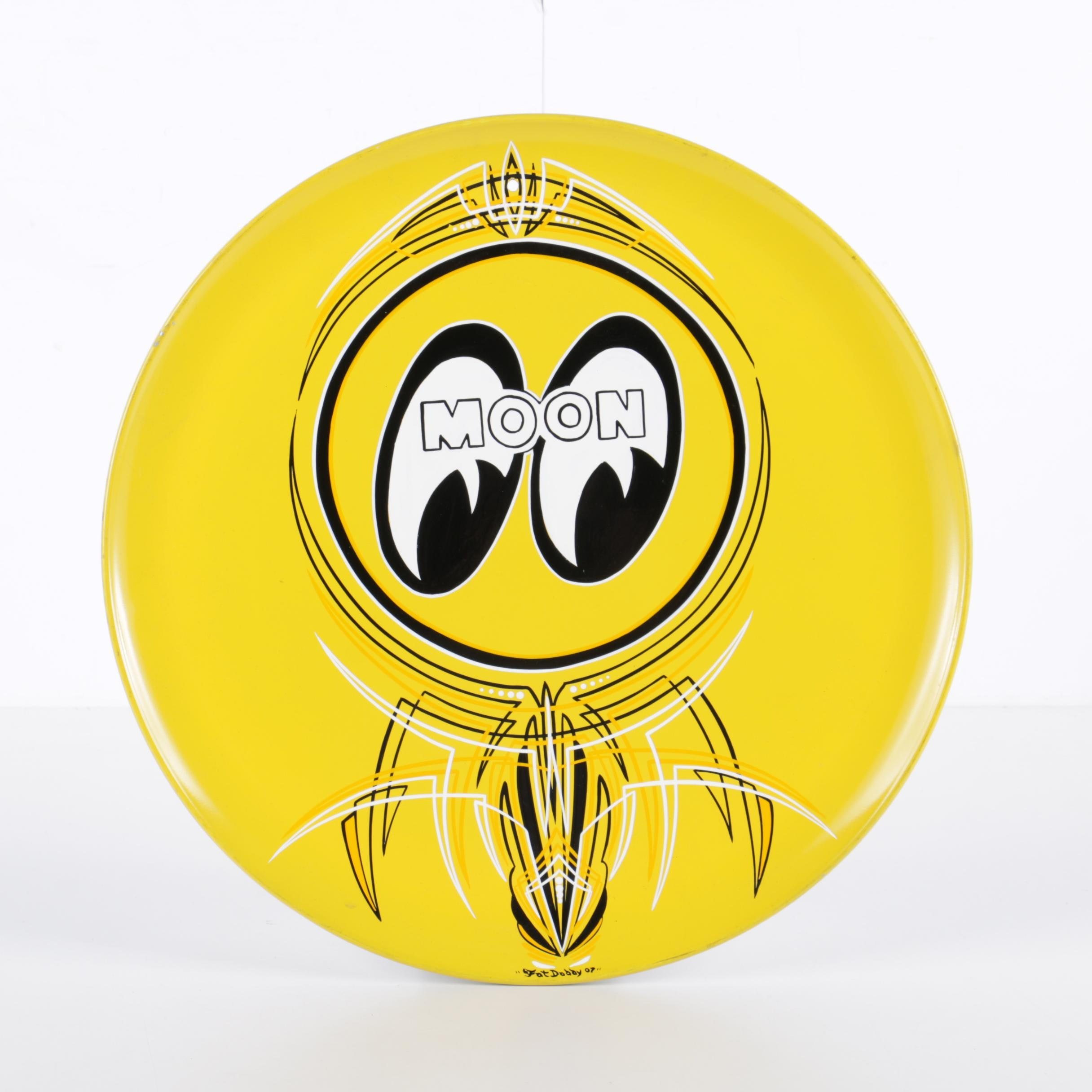 "Fat Daddy Hand-Painted Metal Disk ""Moon Eyes"""