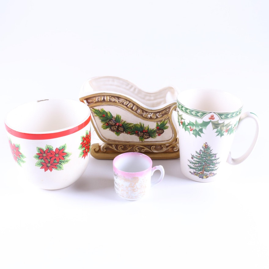 Spode Christmas Tree Candle Holder: Assorted Christmas Tableware Featuring Napcoware And Spode