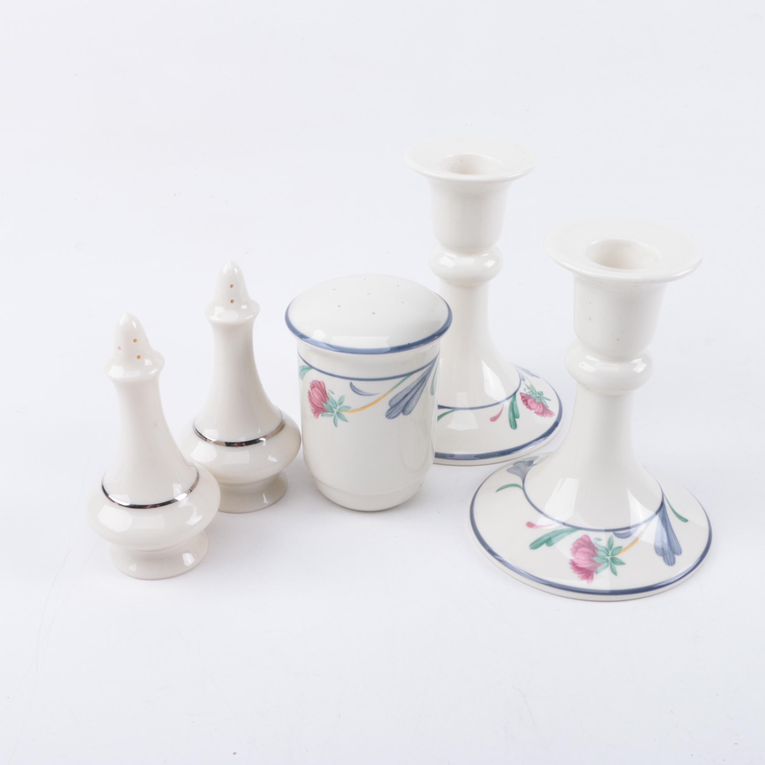 Lenox Porcelain Salt and Pepper Shakers and Candleholders