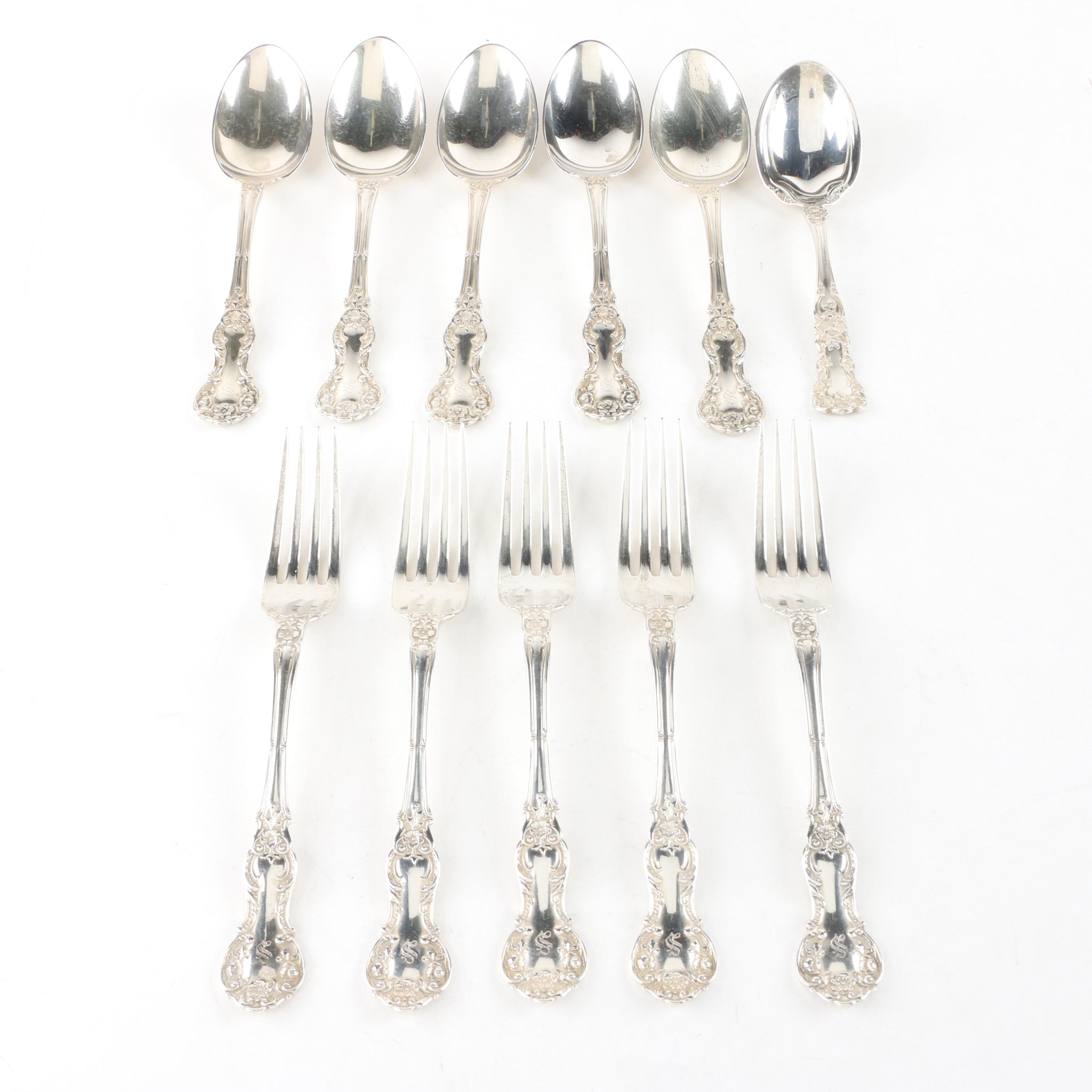 """Gorham """"Fleury"""" Sterling Silver Flatware with """"Buttercup"""" Sugar Spoon"""