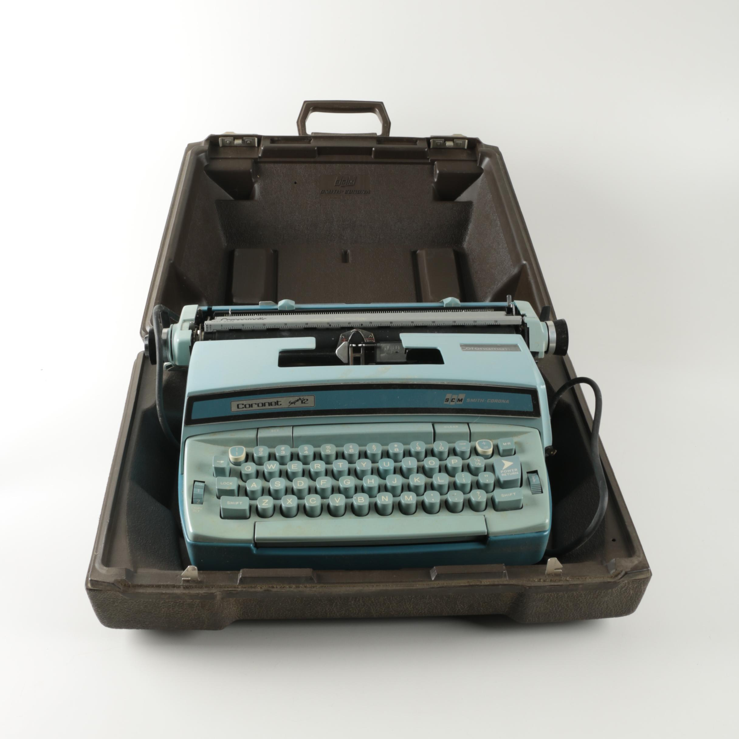 Coronet Super 12Typewriter and accessories