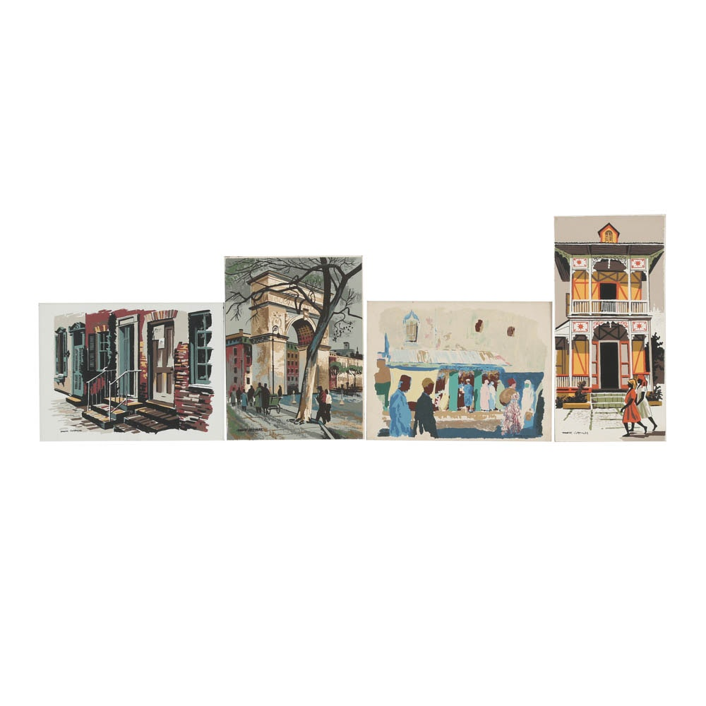 Assortment of Mark Commer Serigraphs on Board Cityscapes