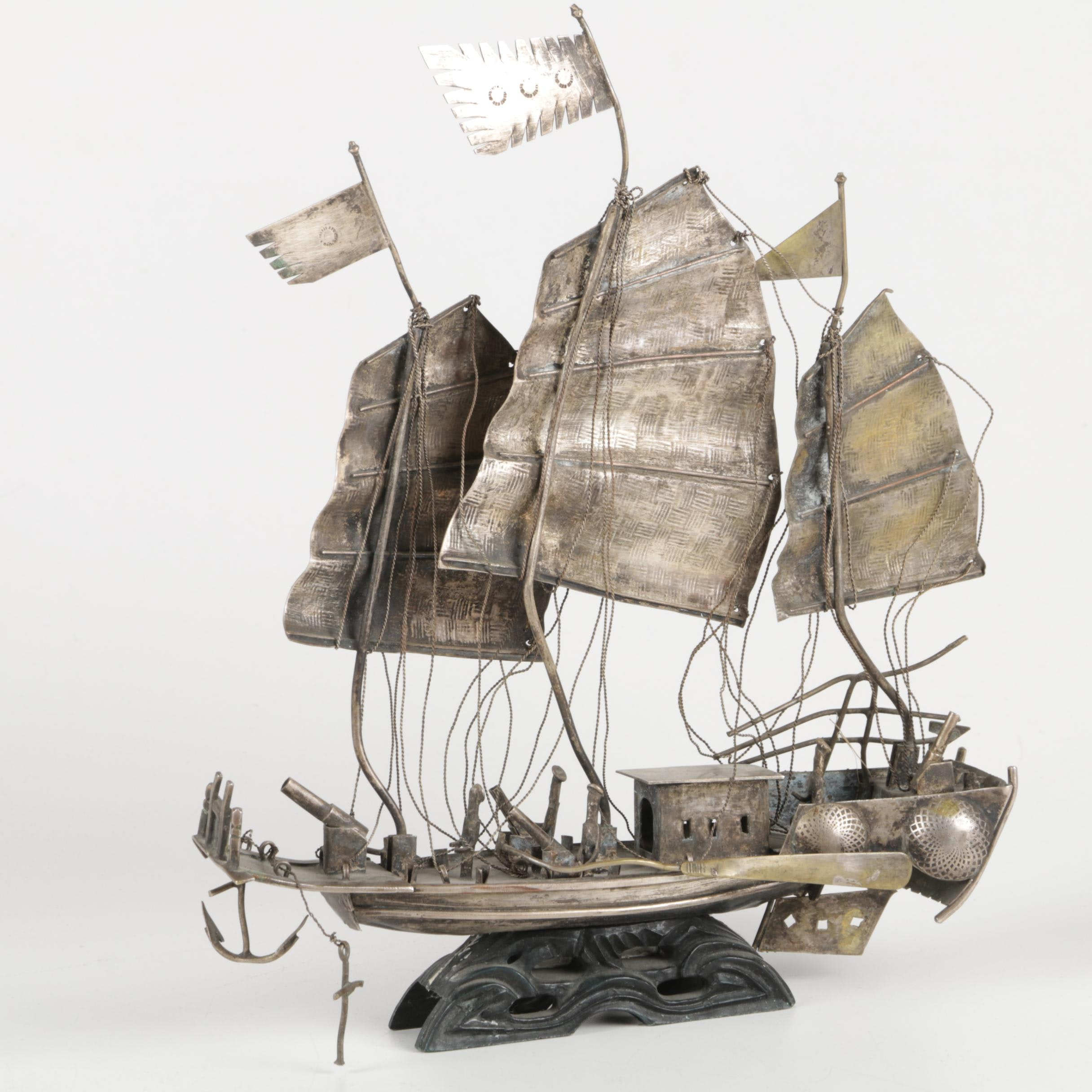Silver Plate Miniature Three-Mast Ship Sculpture