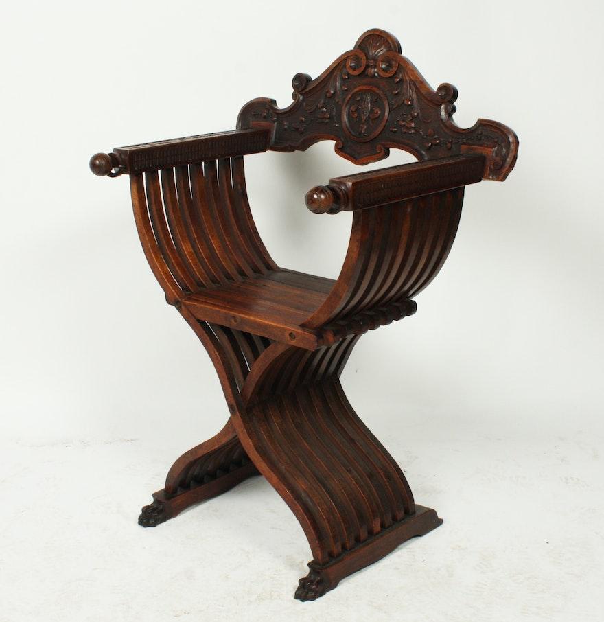 Savonarola chair italian renaissance - Italian Renaissance Style Savonarola Chair
