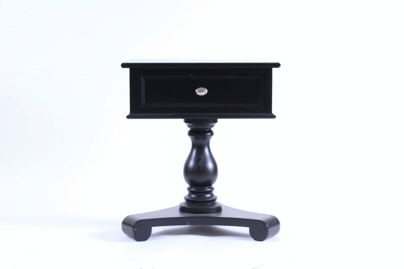 Black Swivel-Top End Table