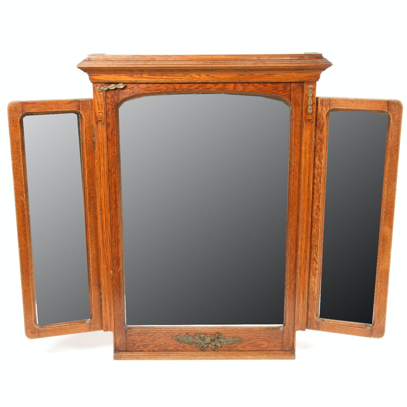 Vintage Wooden Three Way Mirror
