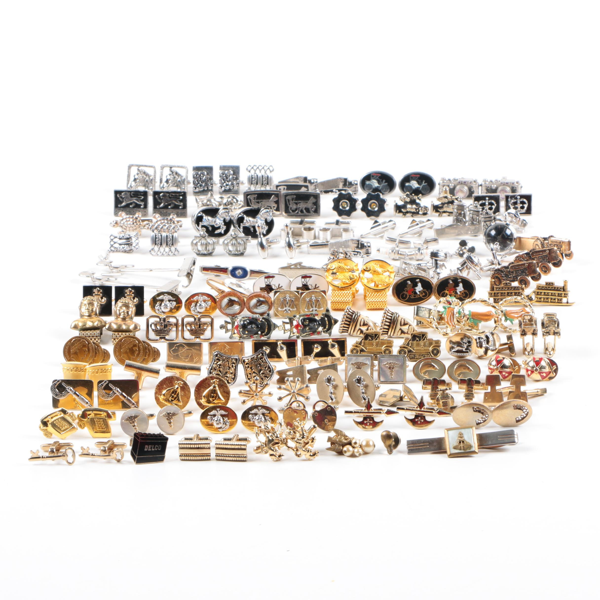 Large Assortment of Cufflinks, Tie Bars and Tie Tacs