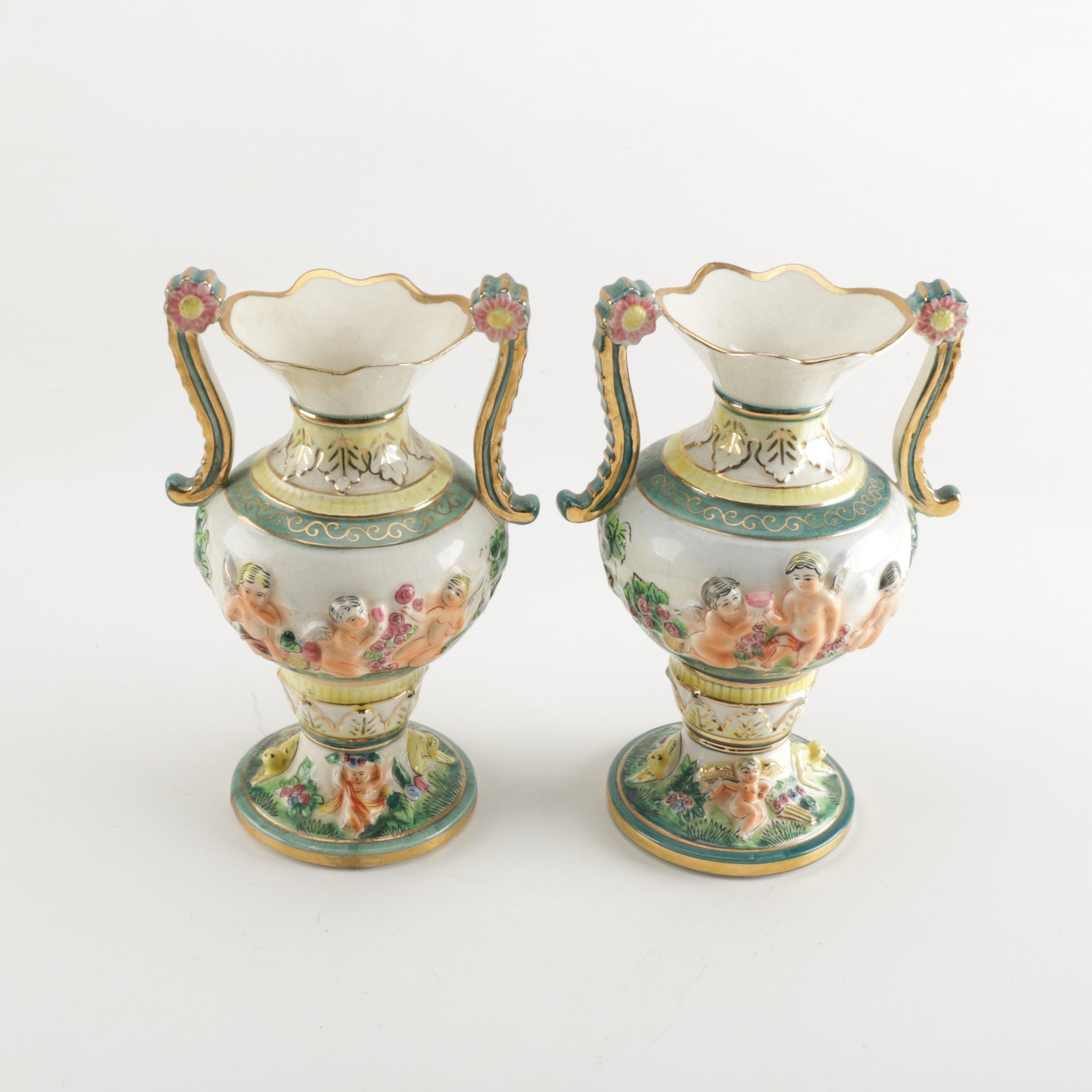 Hand-Painted Italian Majolica Cherub Vases