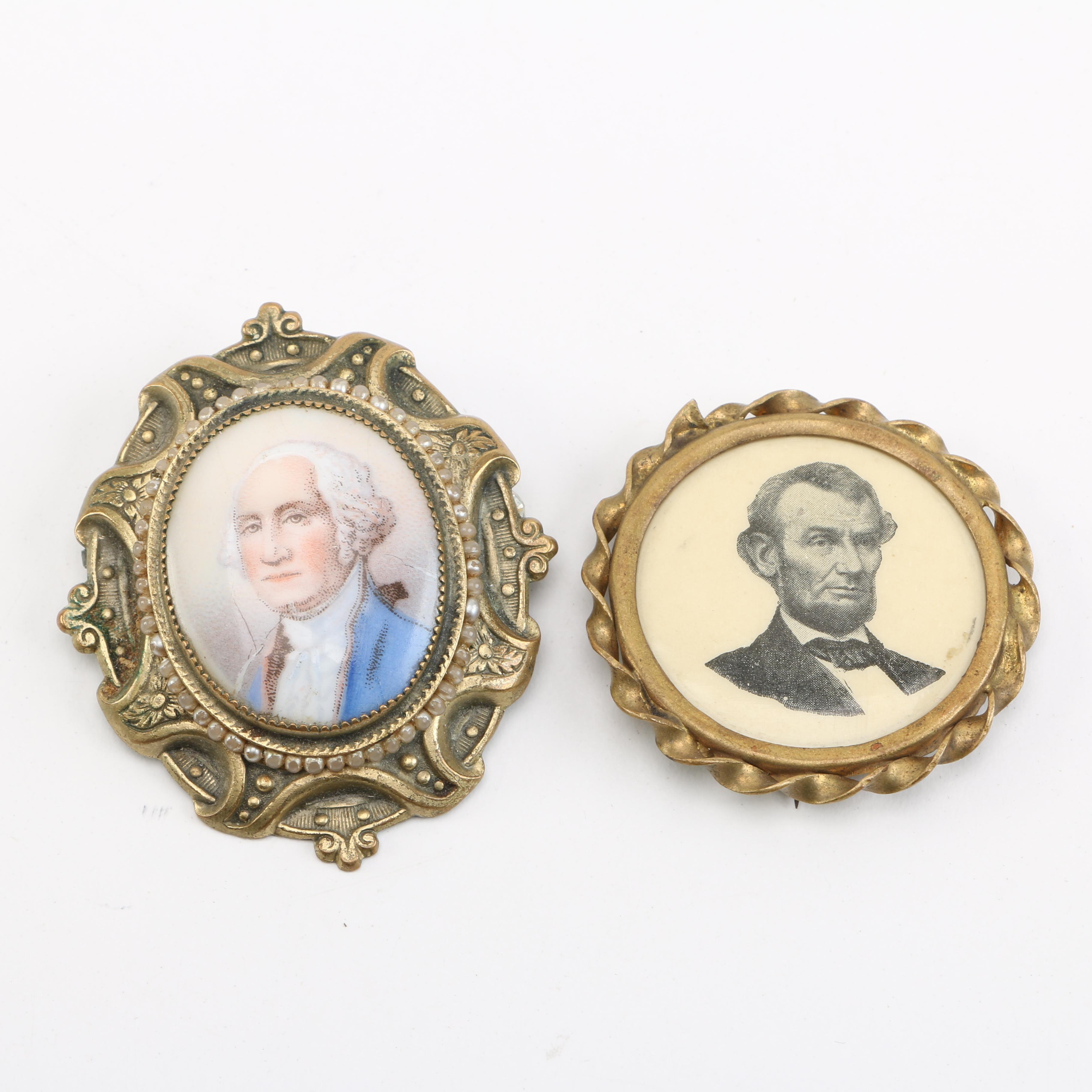 Lincoln and Washington Pinback Buttons
