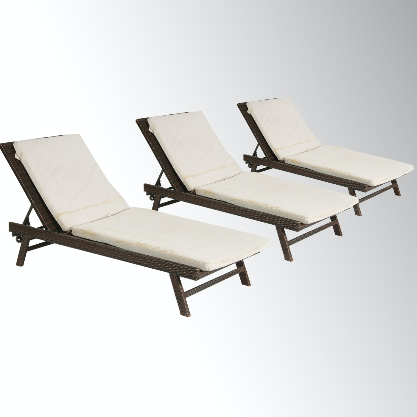 Set of Three Wicker Style Outdoor Lounge Chairs