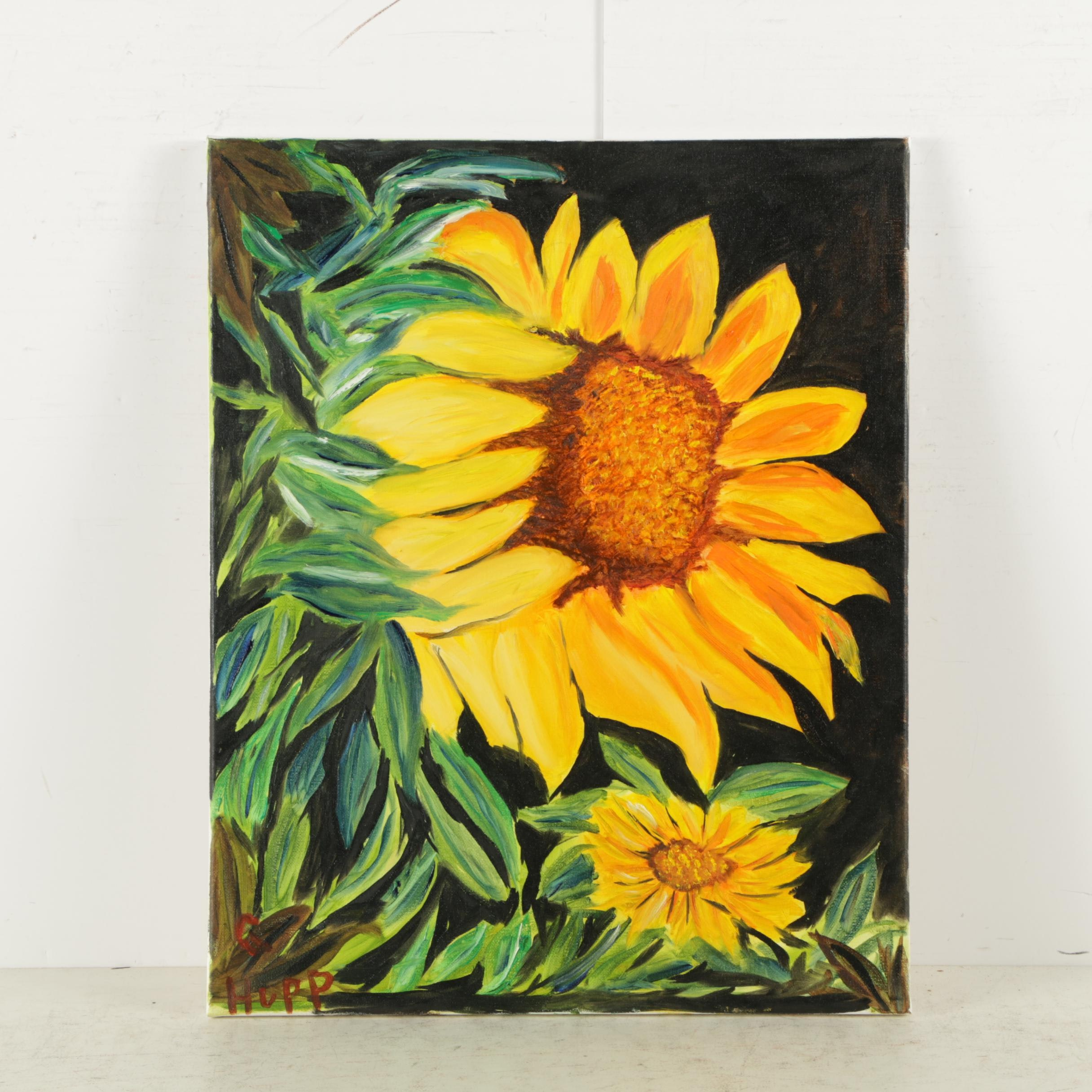G. Hupp Oil Painting on Canvas of Sunflowers