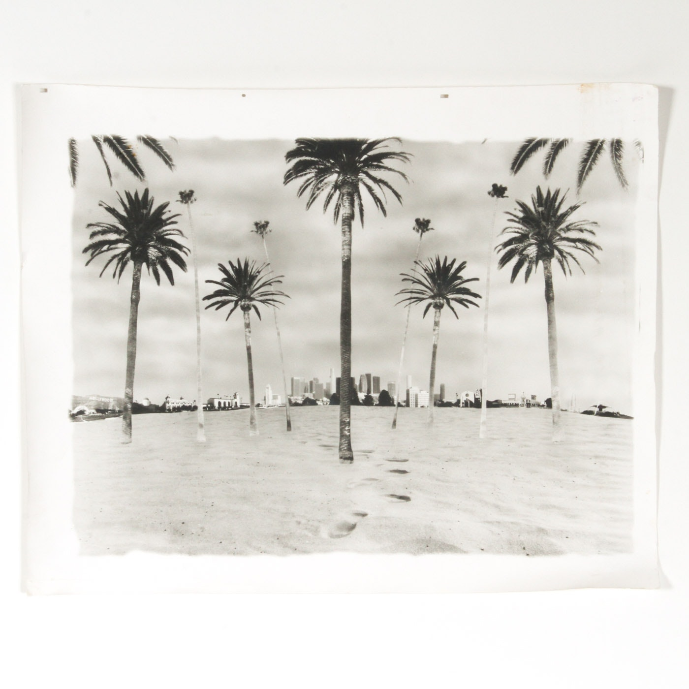 Black and White Photo Collage of Iconic Los Angeles Structures