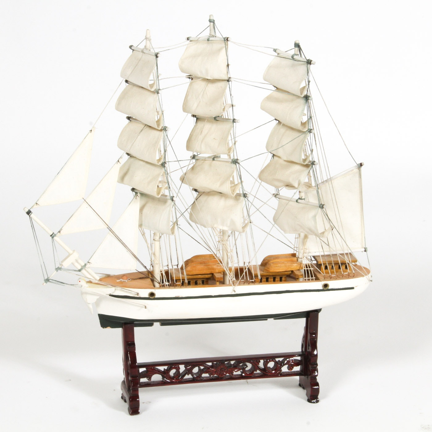 Wood Model Ship with Display Stand