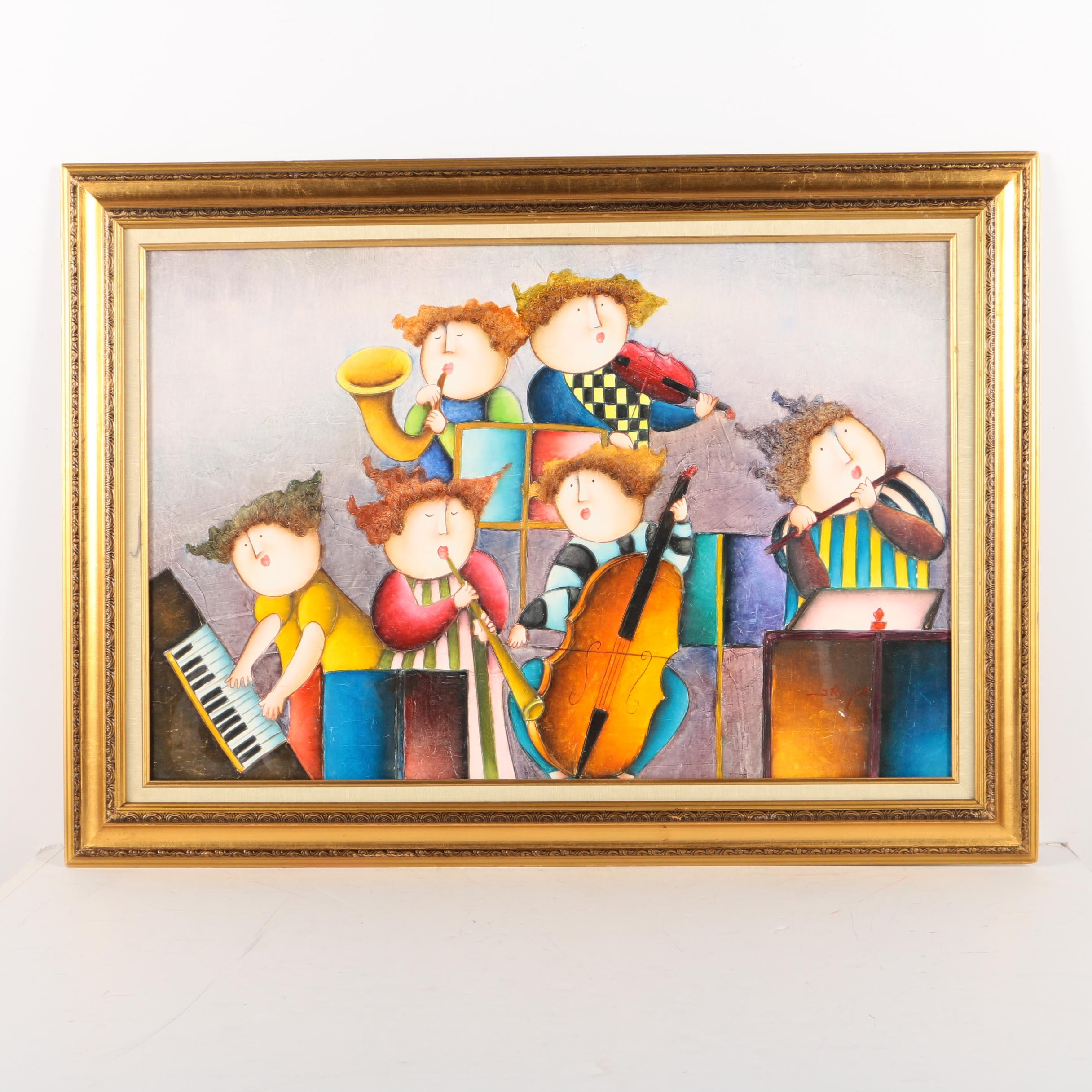 Joyce Roybal Oil Painting on Canvas of Band