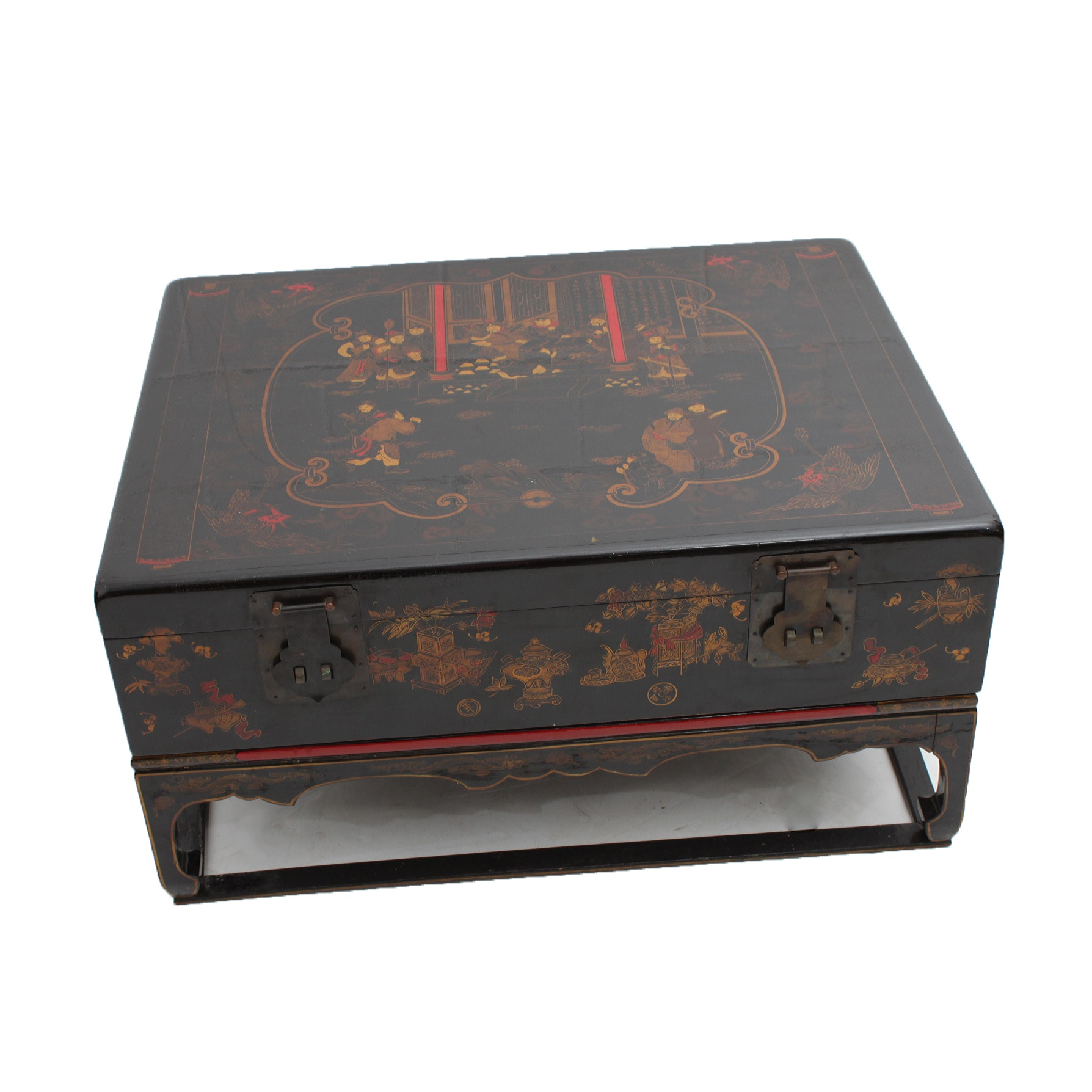 Chinese Lacquered Coffee Table Chest With Stand
