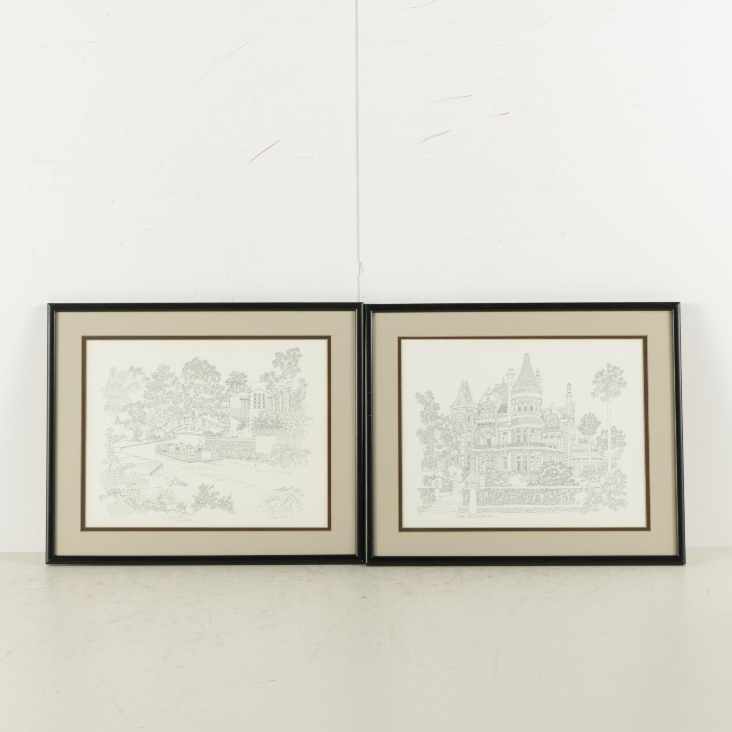 Offset Lithographs After Norman Baxter of Texas Architecture