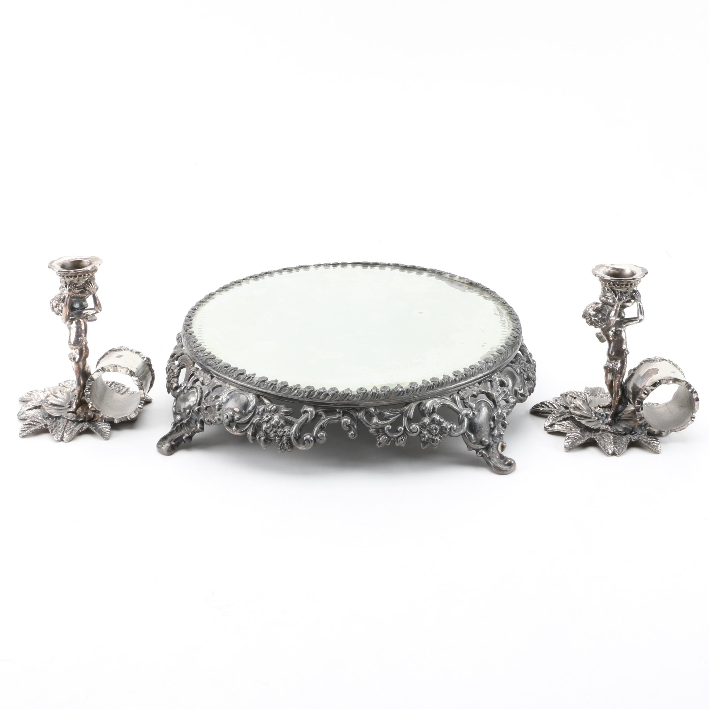 Beaucoup Design Candlesticks and Ormolu Style Vanity Tray