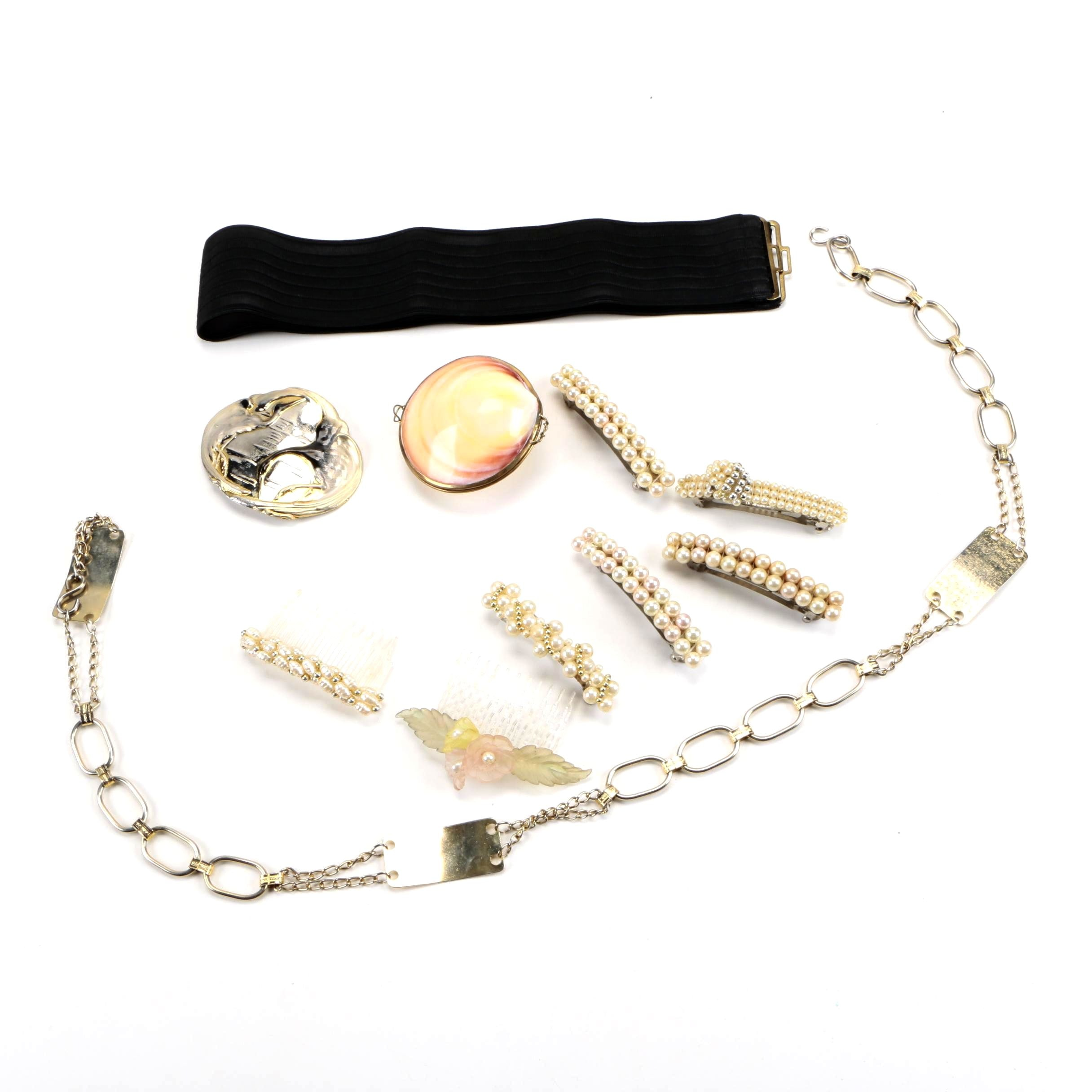 Vintage Accessories Including a Shell Trinket Case & Faux Pearls