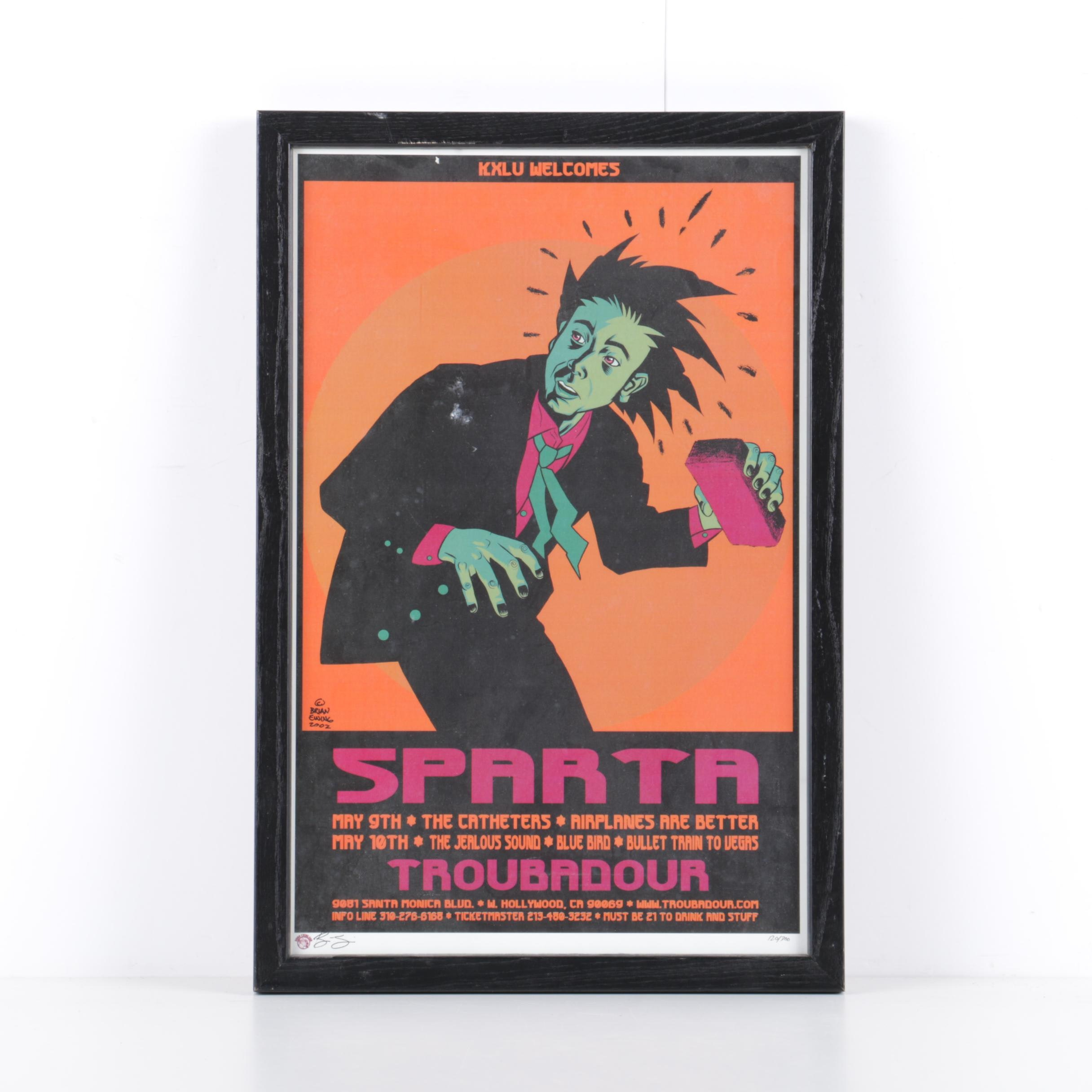 Brian Ewing 2002 Limited Edition Concert Poster for Sparta at the Troubadour