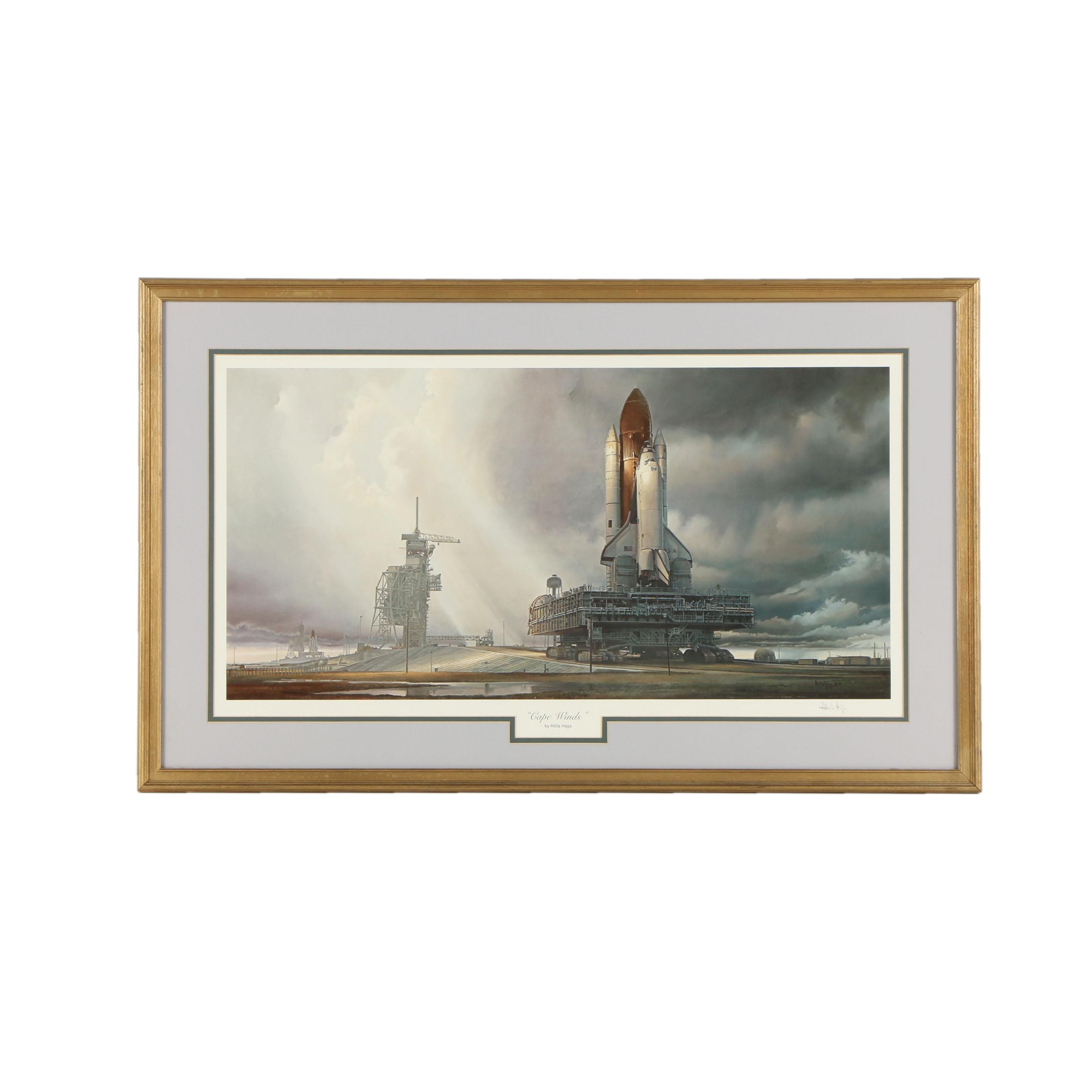 Space Shuttle Launch Print Cape Winds by Attila Hejja Space Art