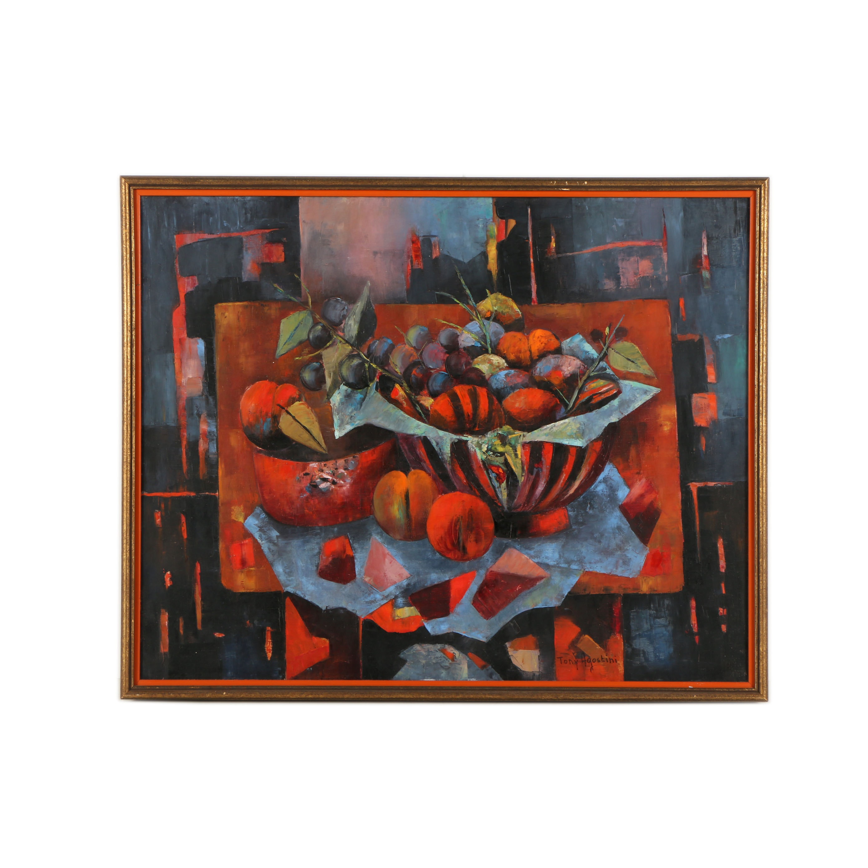 Tony Agostini Oil on Canvas Painting of an Abstract Still Life