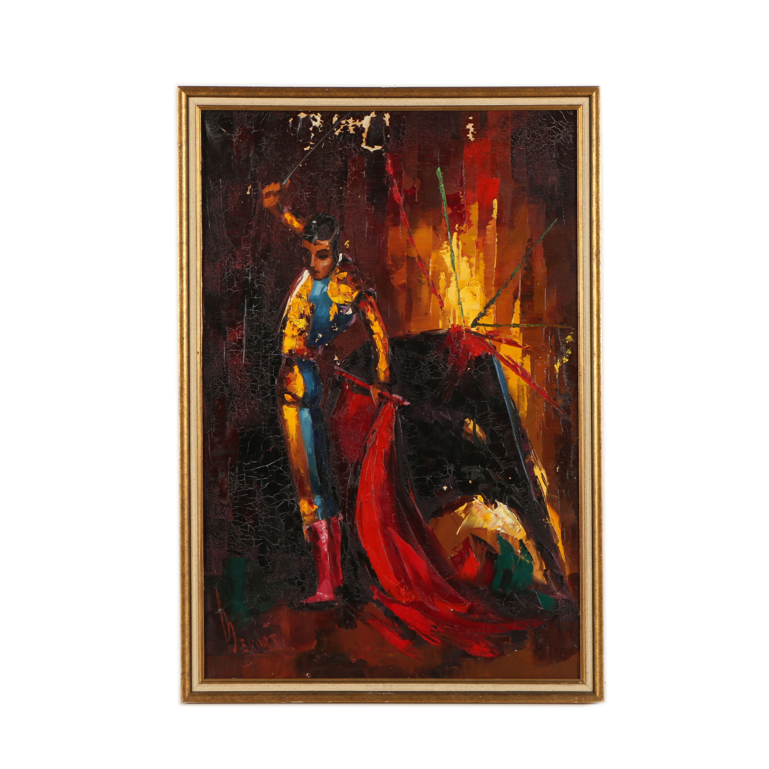 Oil on Canvas Painting of Matador and Bull