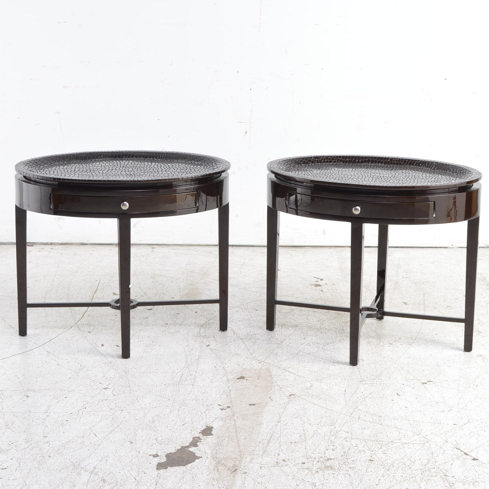 Contemporary Faux Alligator Tray Tables