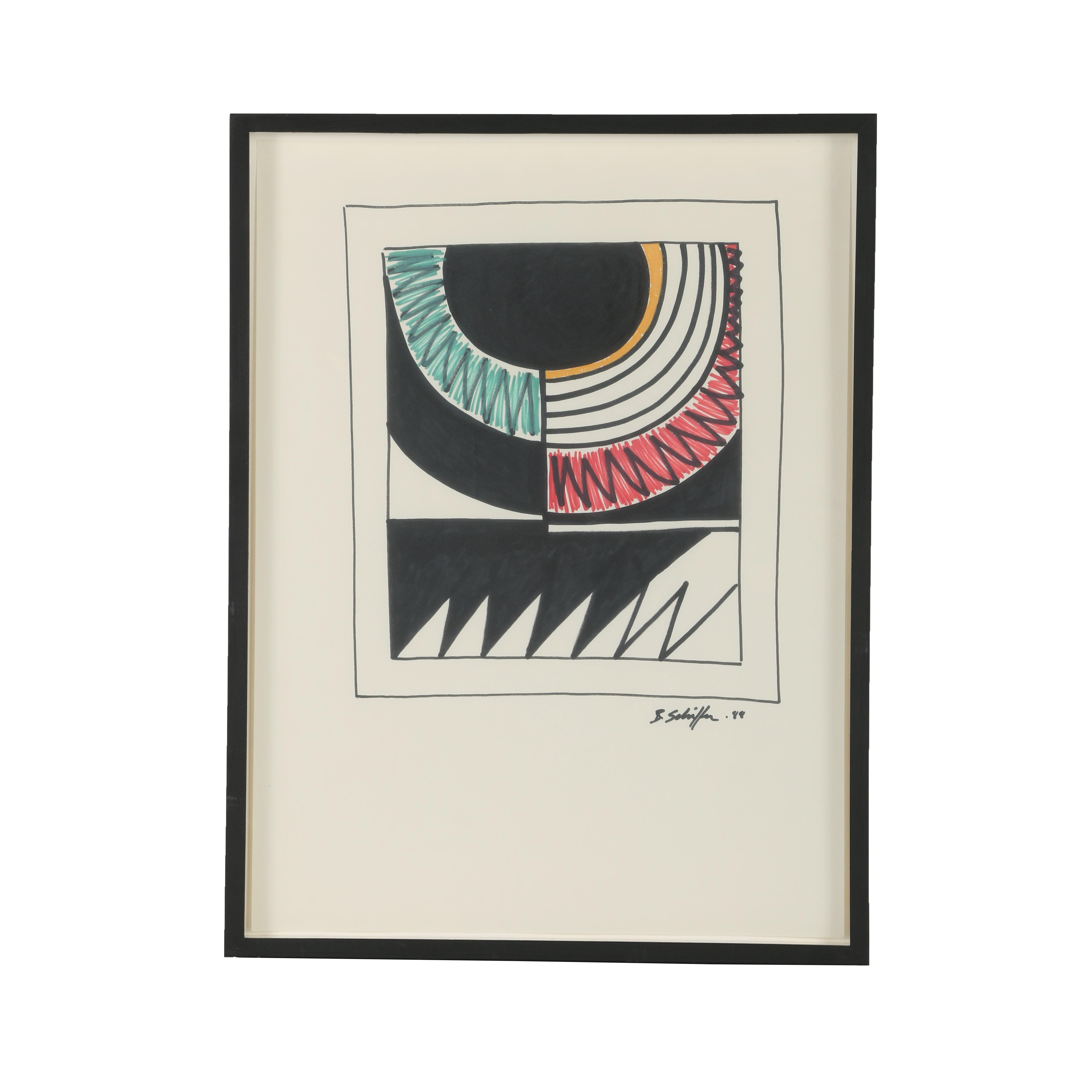 "Bill Schiffer Oil Paint Marker Drawing ""Eclipse"""