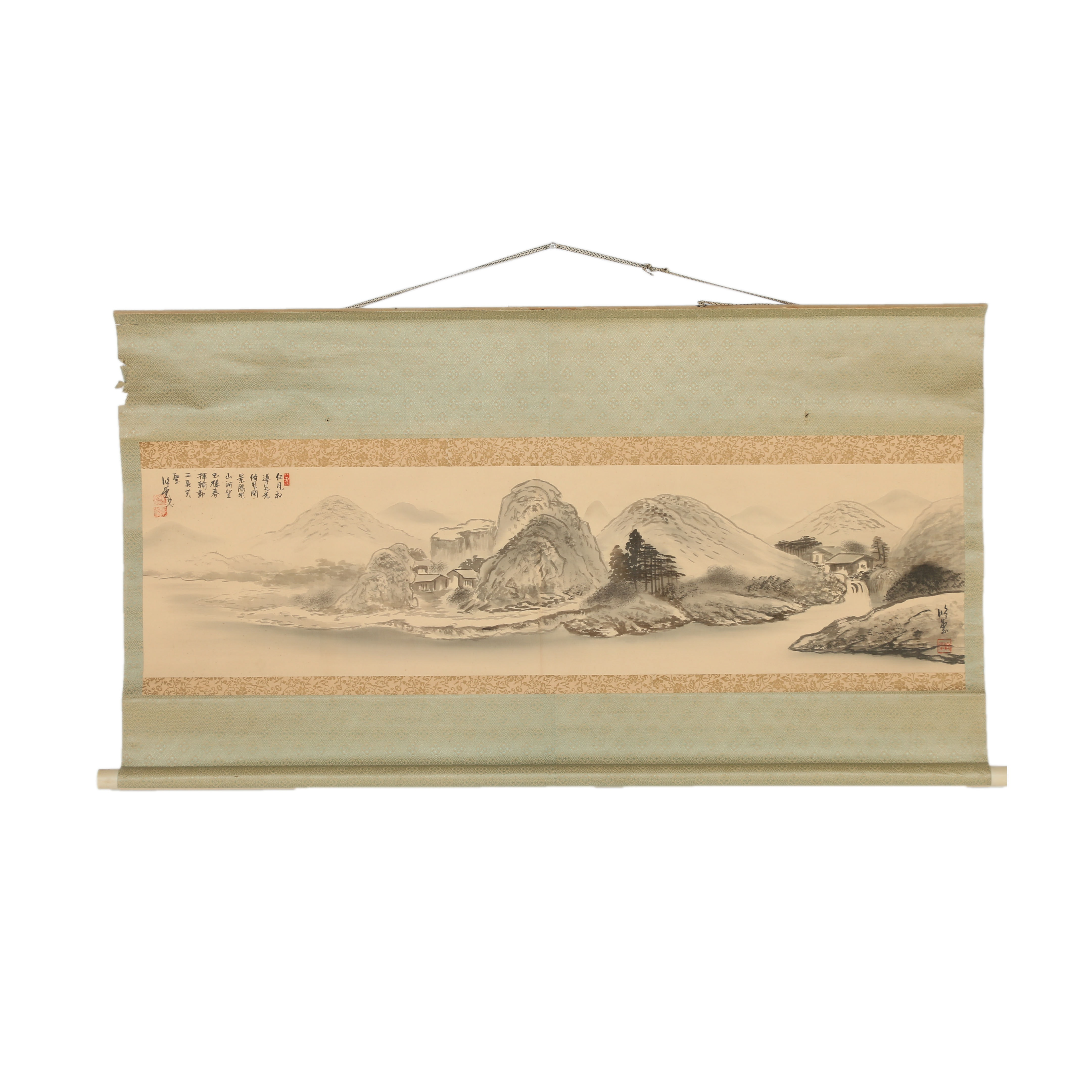 East Asian Silk Scroll with Watercolor Landscape Painting