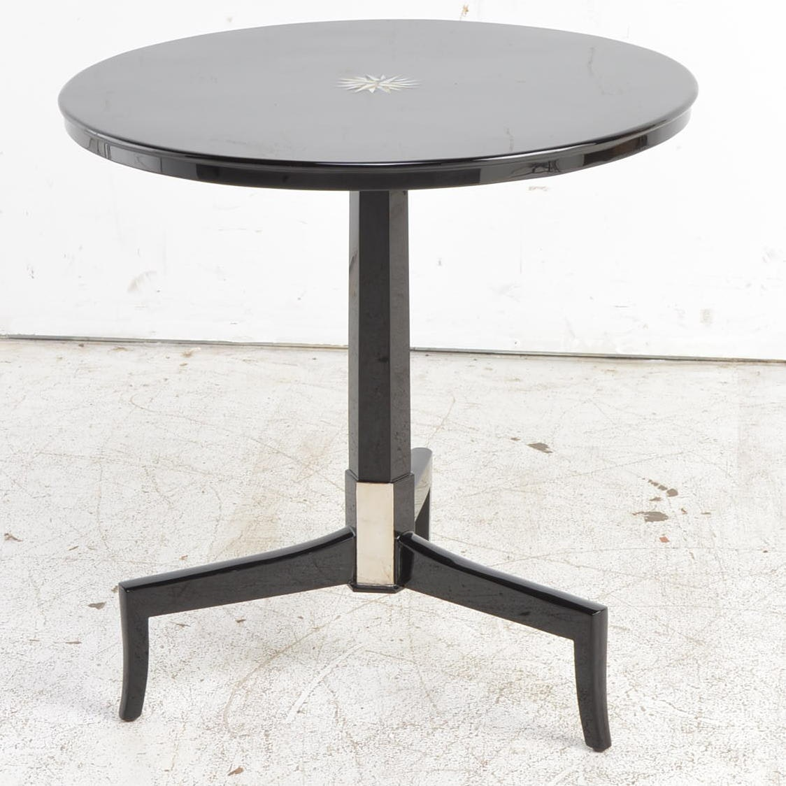 Black Lacquered Accent Table with Abalone Star Inlay
