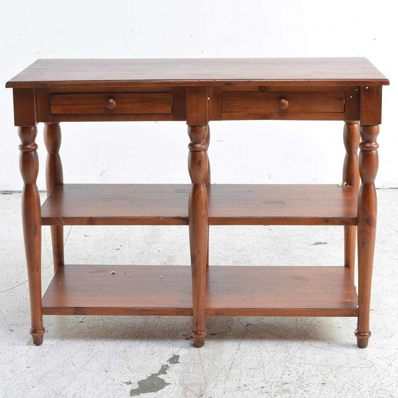 Stained Pine Tiered Console Table