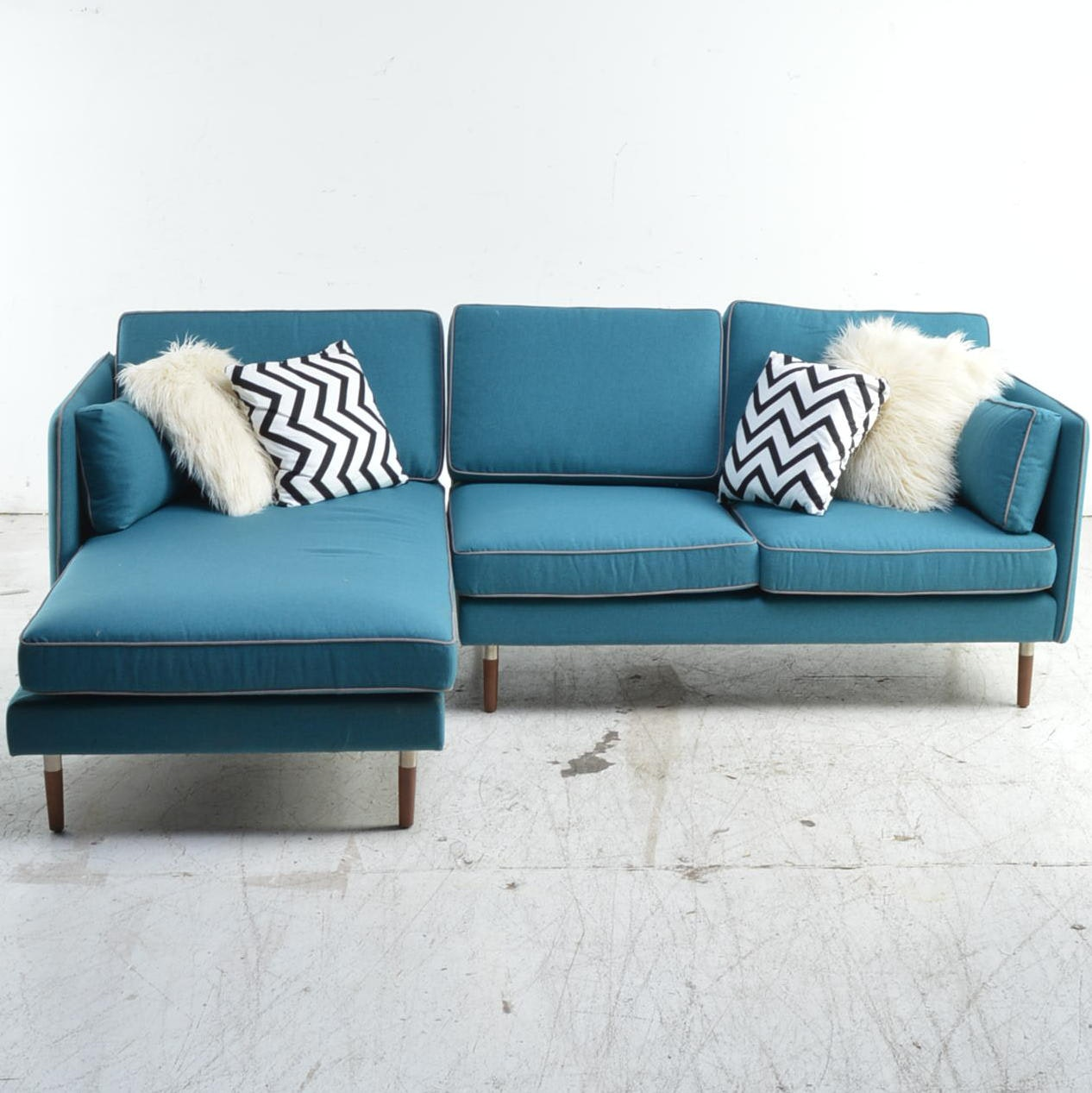 Mid Century Modern Style Blue Upholstered Sectional Sofa