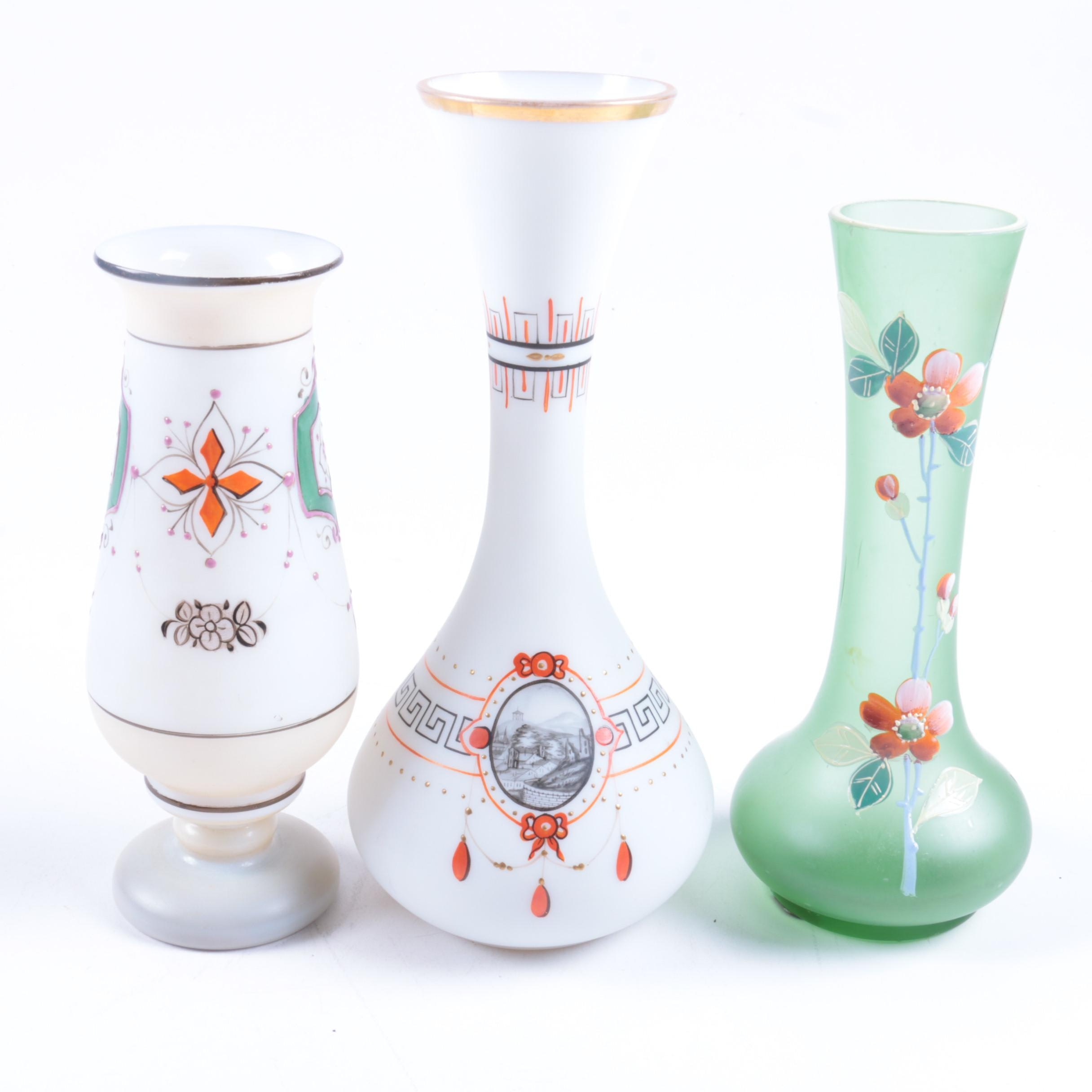 Set of Three Hand Painted Glass Vases