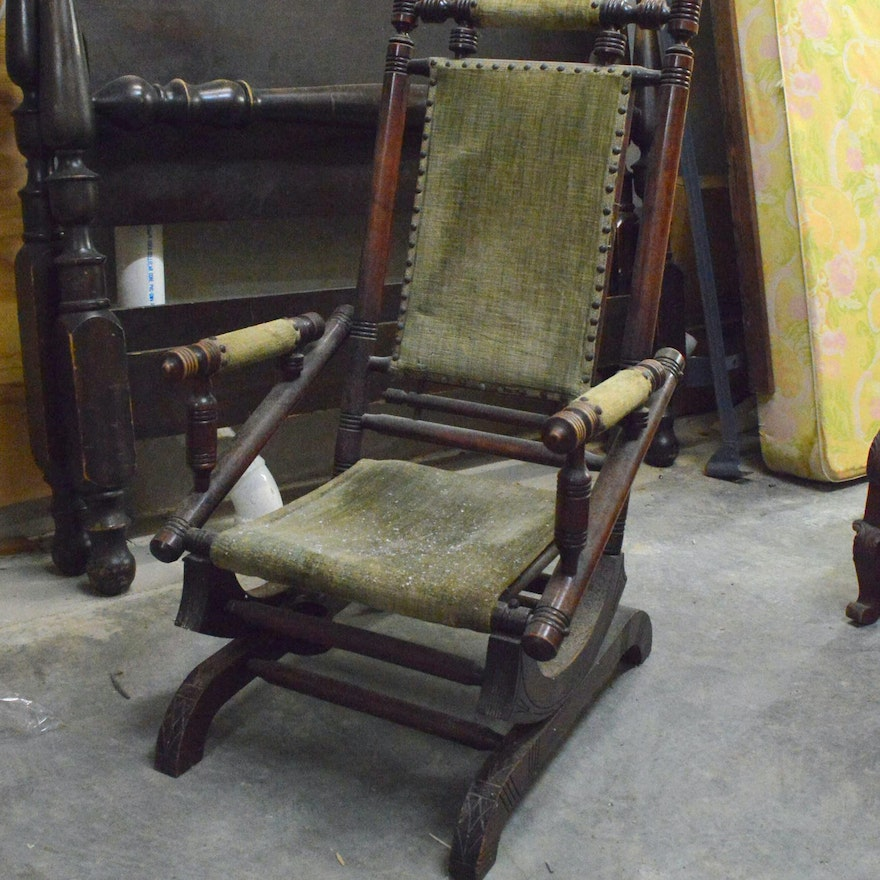 Antique Victorian Eastlake Walnut Platform Rocking Chair ... - Antique Victorian Eastlake Walnut Platform Rocking Chair : EBTH