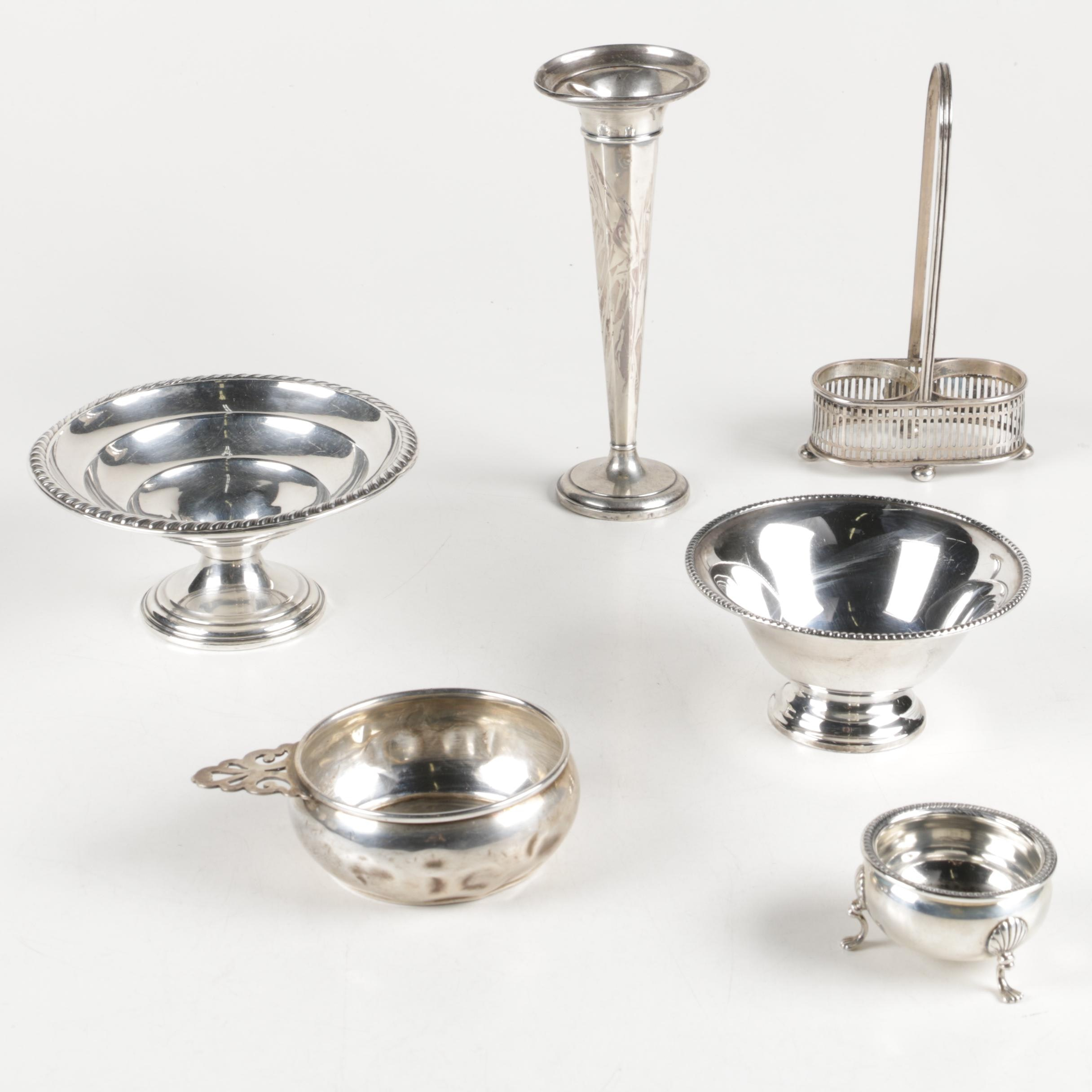 M. Fred Hirsch Co. Shell Salt Cellar, Wallace Porringer, and Other Sterling