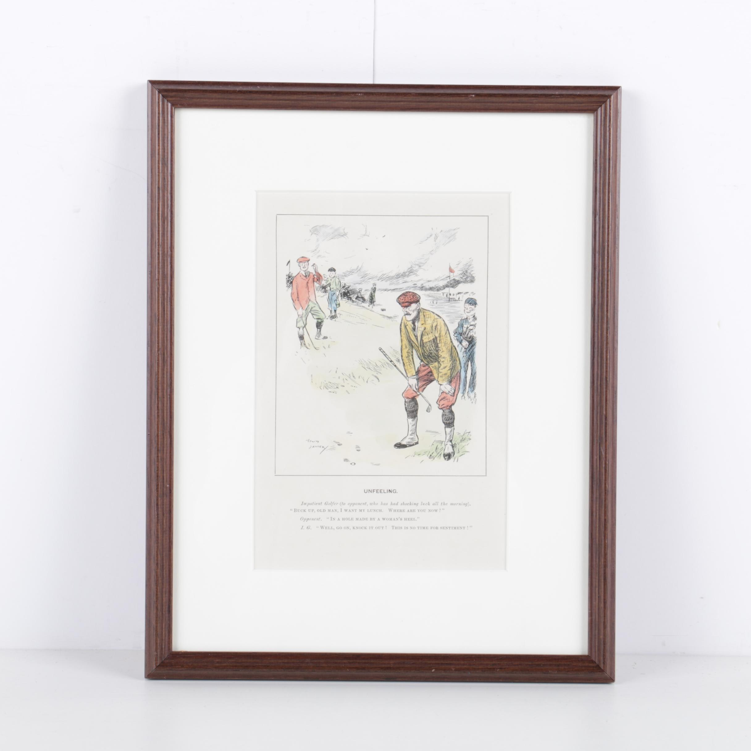Hand Colored Lithograph on Paper of Man Golfing