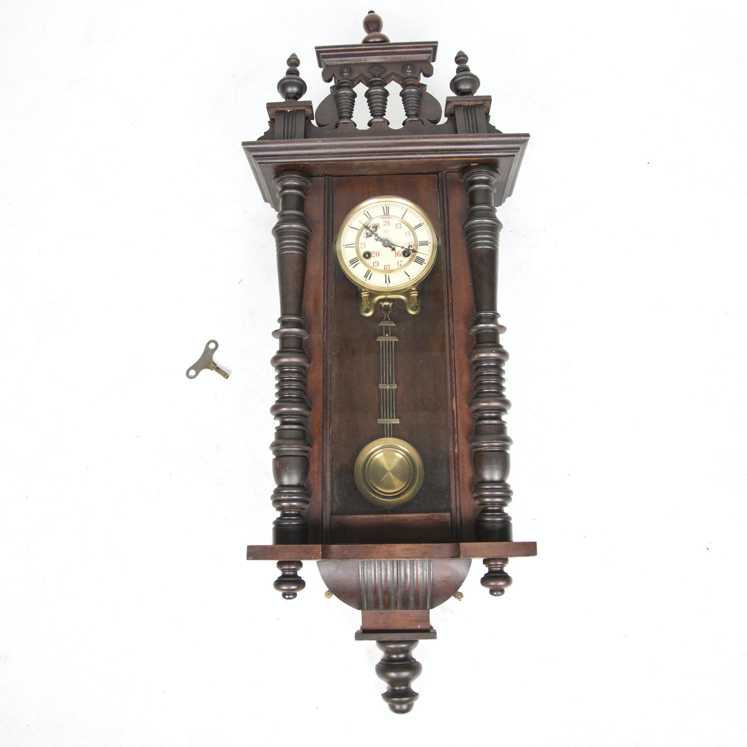 Vintage Wood-Cased Pendulum Wall Clock