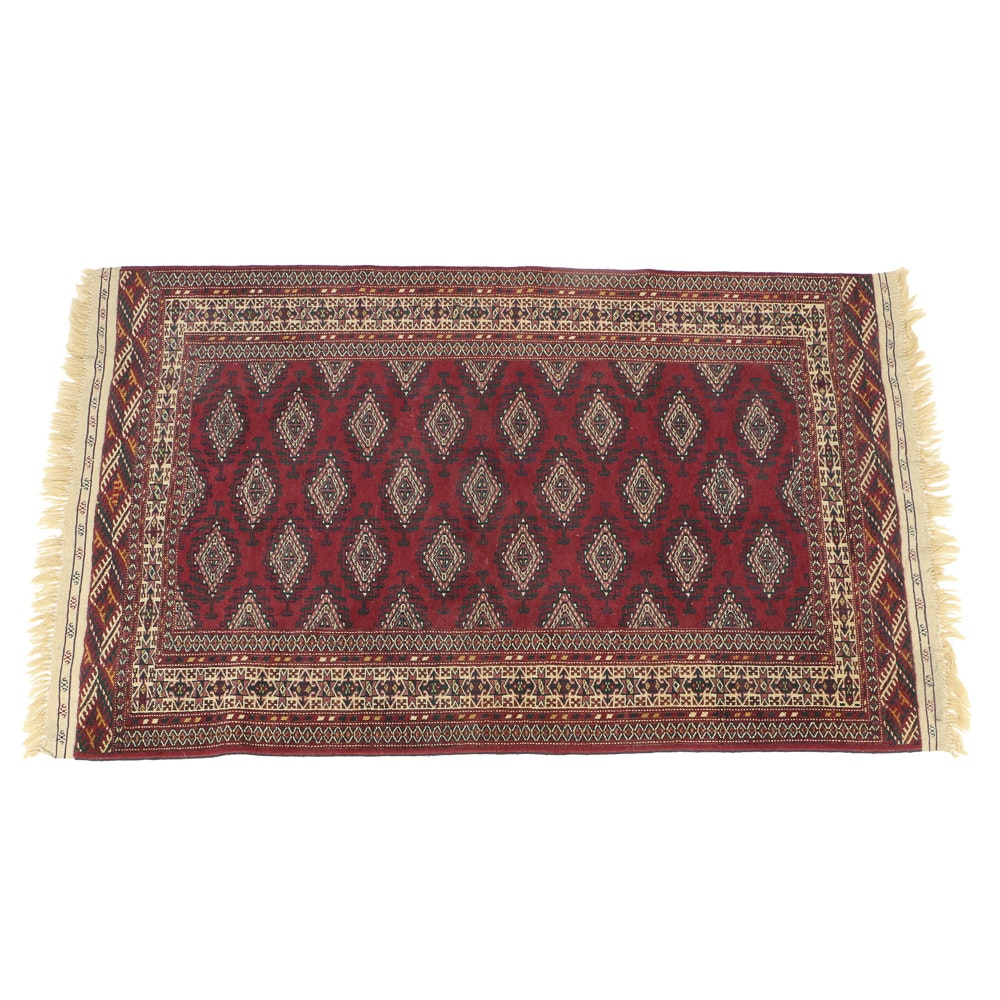 Hand Knotted All Wool Bokhara Area Rug in Red and Navy