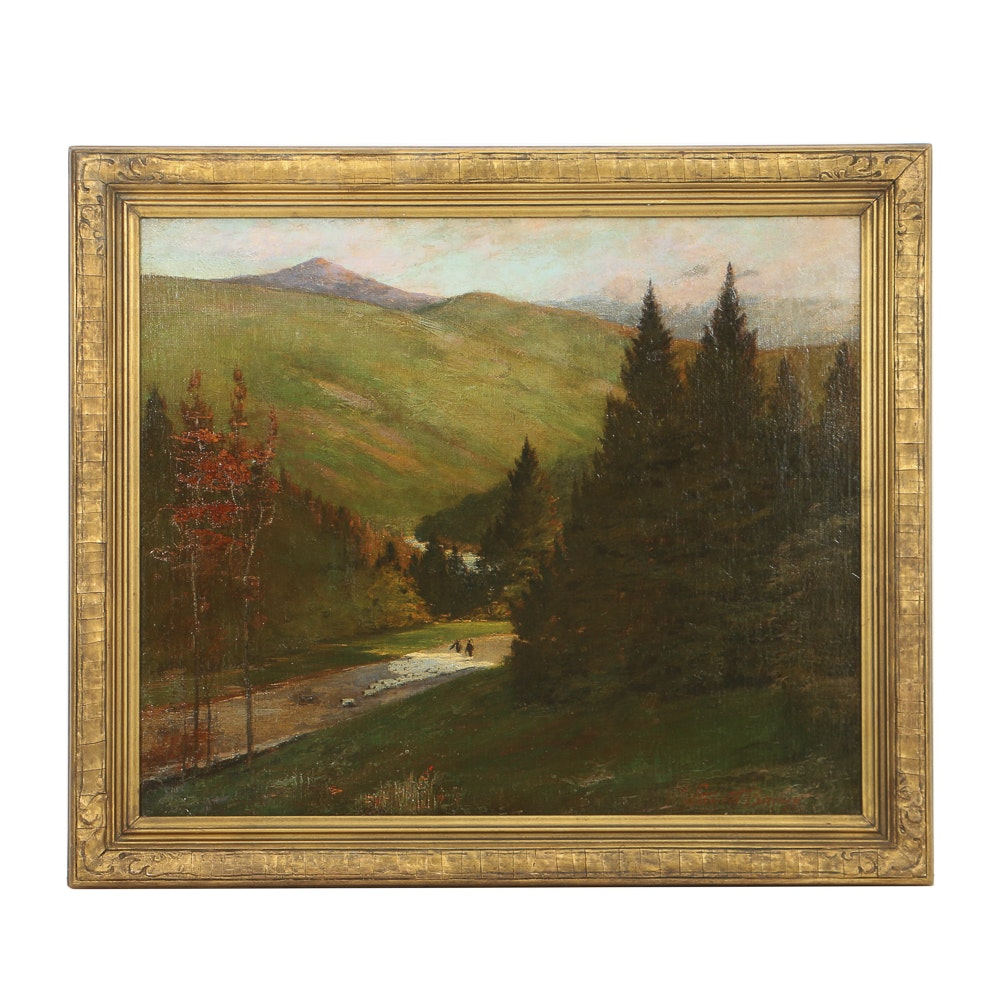 John Stewart Barney Oil Painting on Canvas of Mountainous Pastoral Landscape