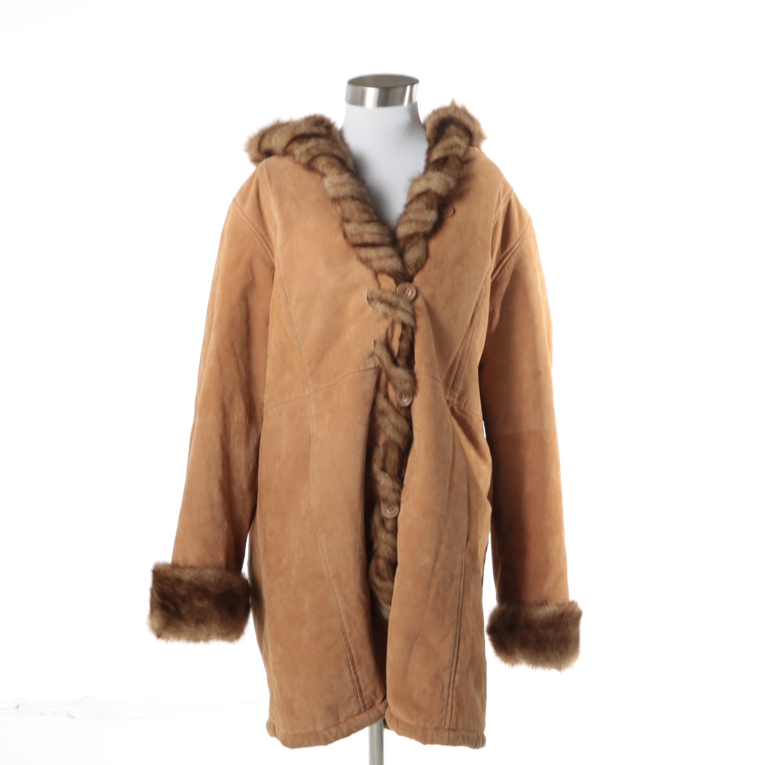 Women's Dennis Basso Tan Leather Coat with Faux Fur Trim