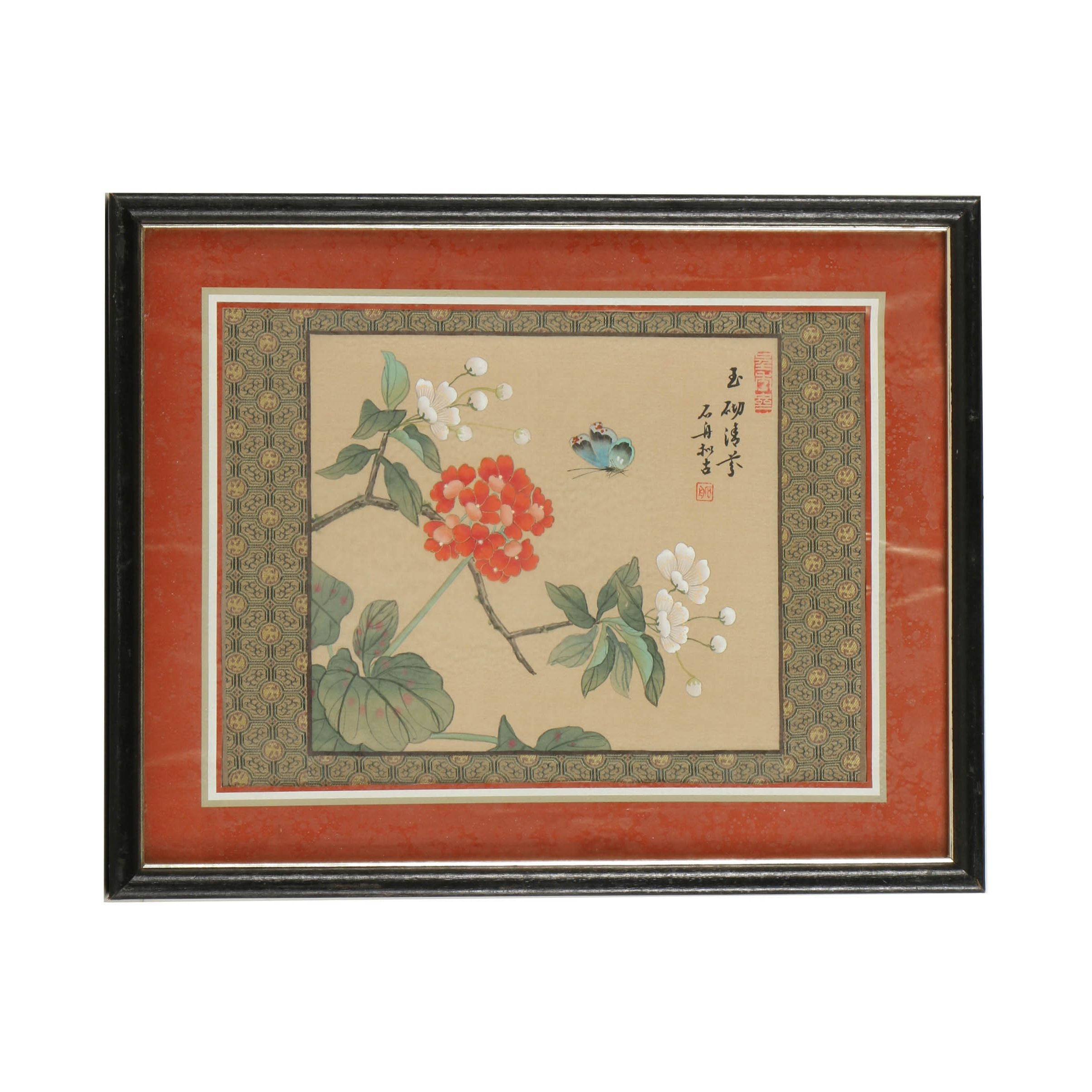 East Asian Gouache Painting on Silk of Butterfly and Flowers