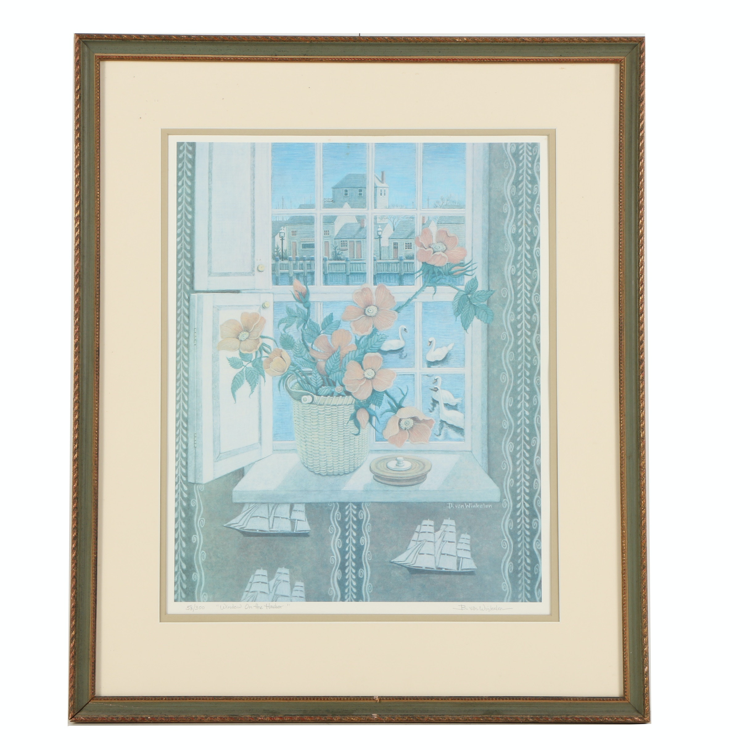 """Barbara van Winkelen Limited Edition Offset Lithograph """"Window on the Harbor"""""""