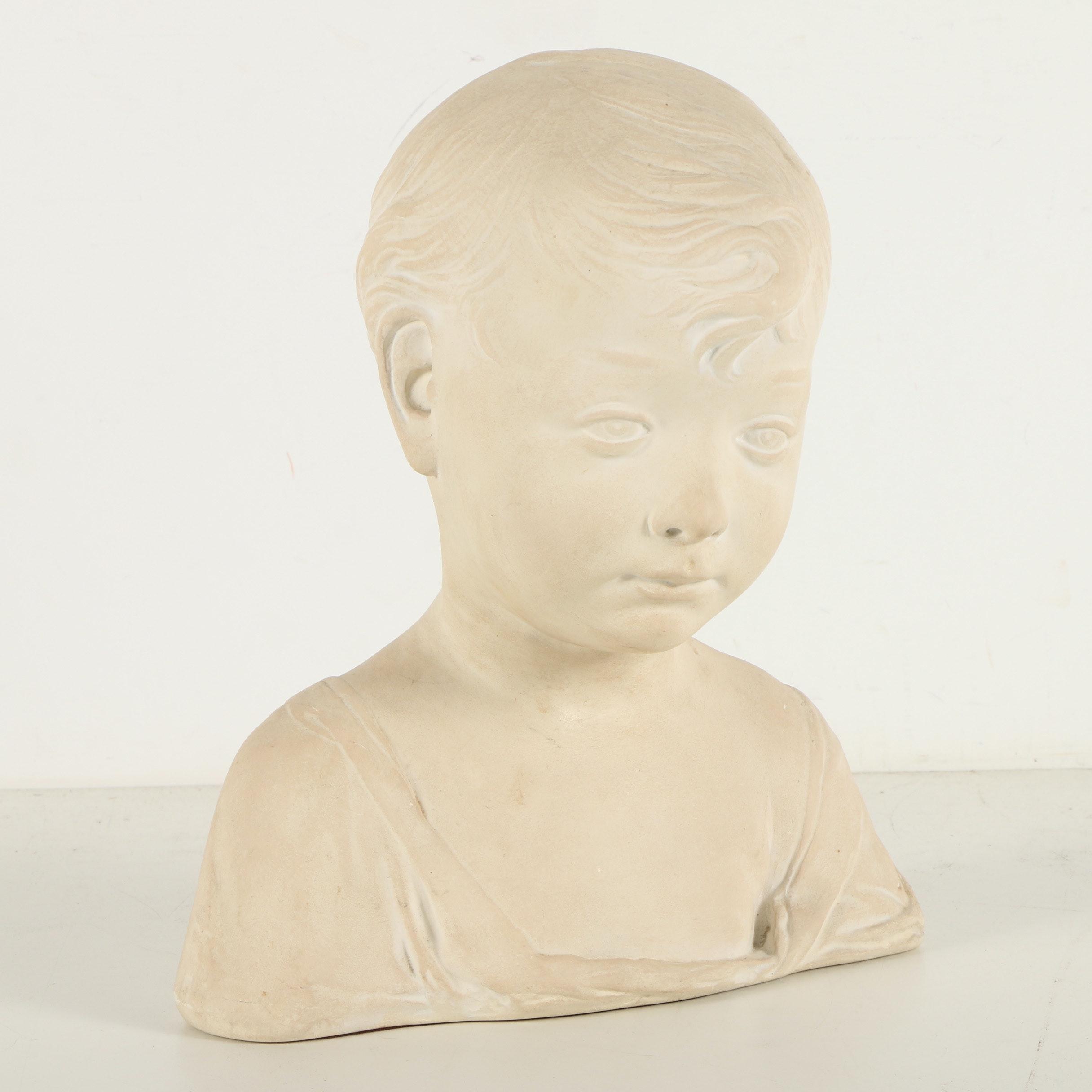 """Reproduction Soapstone Bust After Desiderio da Settignano """"A Little Boy"""""""