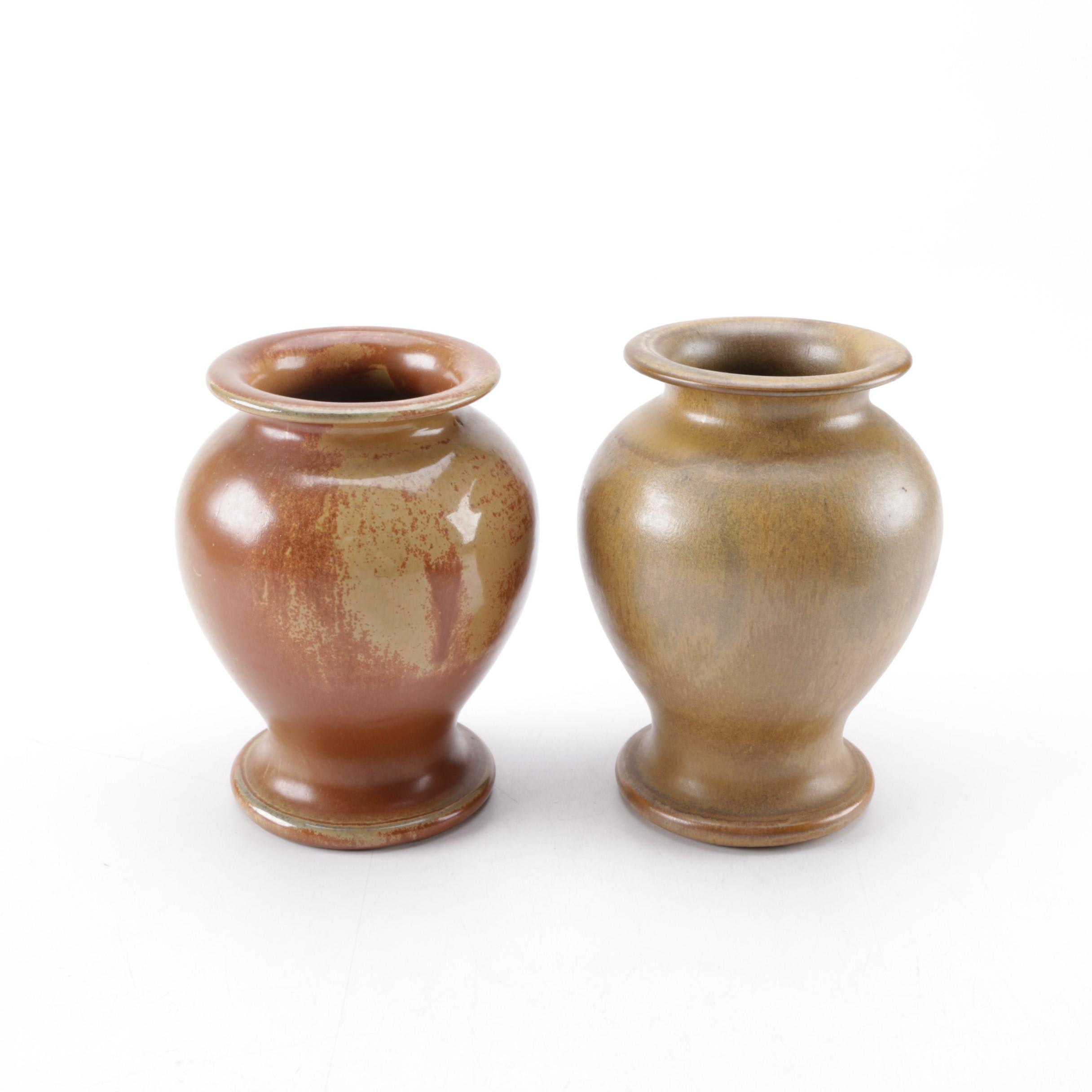 Pair of GA Art Pottery Wheel Thrown Vessels
