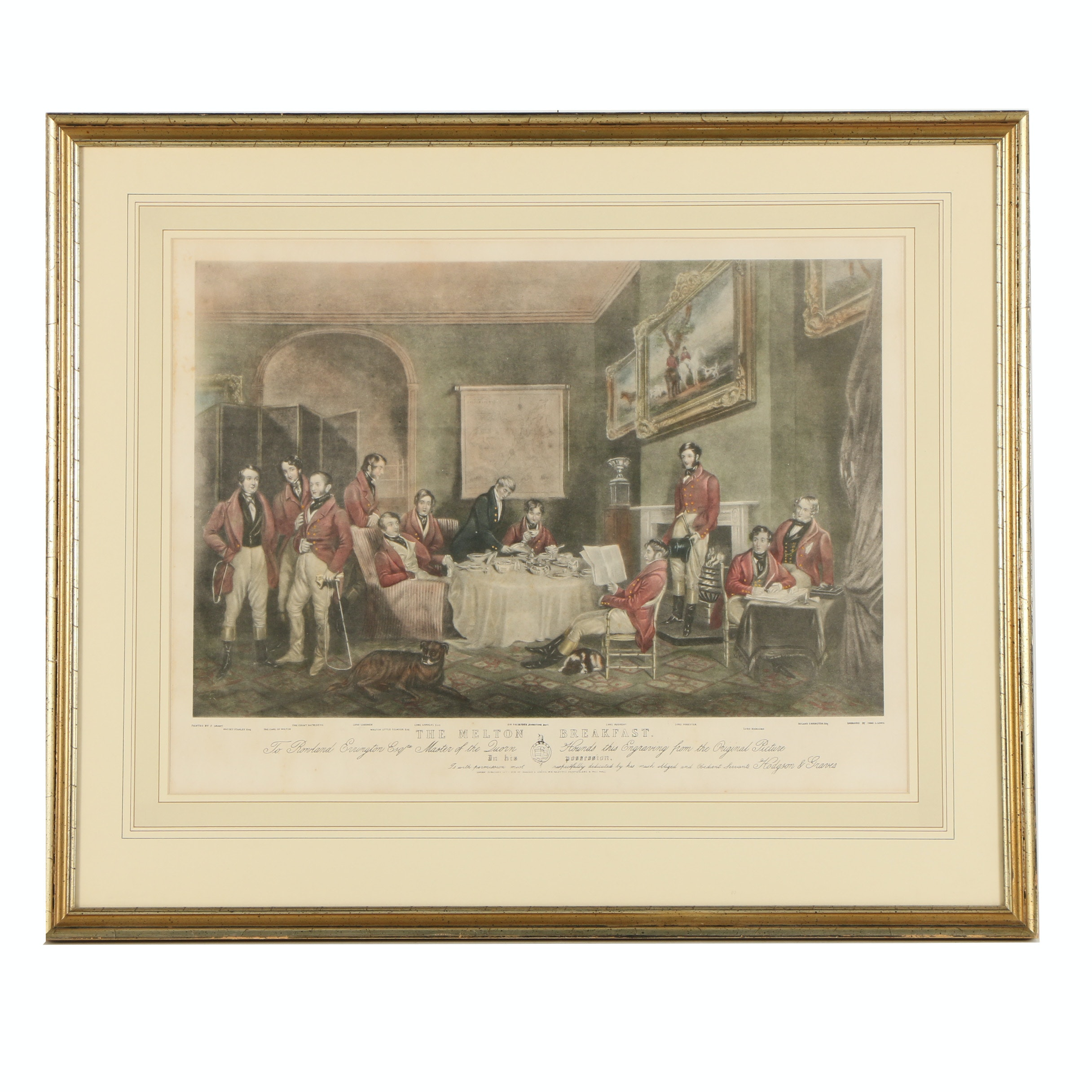 "Hand-Colored Lithograph After Charles G. Lewis's ""The Melton Breakfast"""