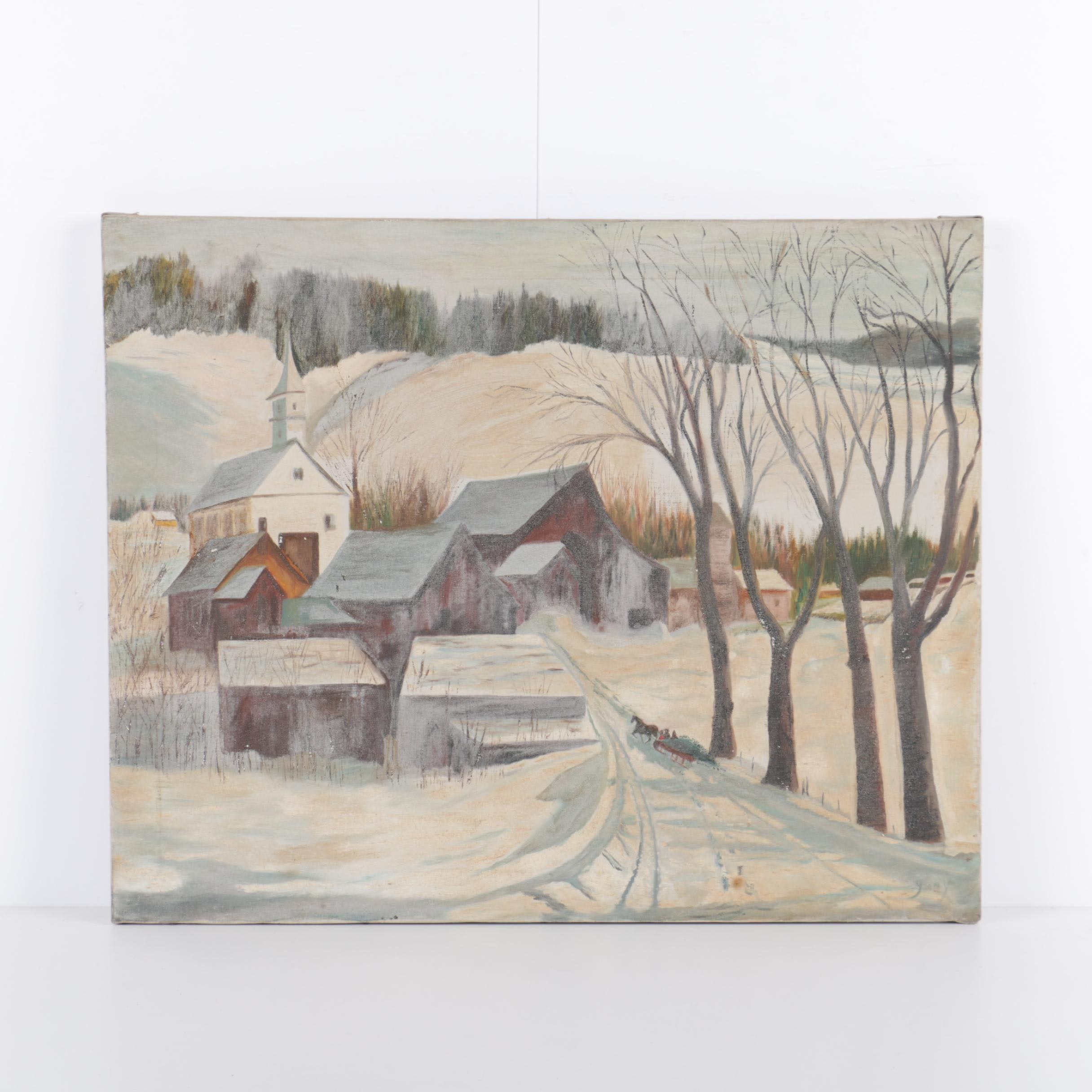 Gary Richard Oil Painting on Canvas of Winter Landscape Scene