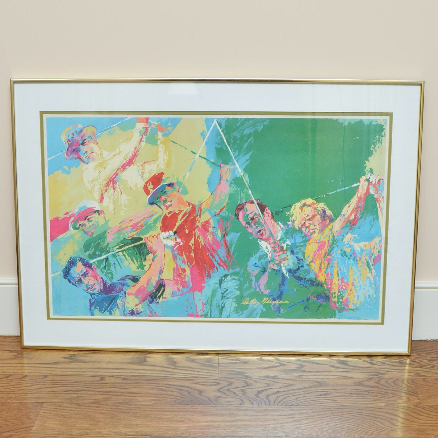 Leroy Neiman Framed Golf Themed Offset Lithograph