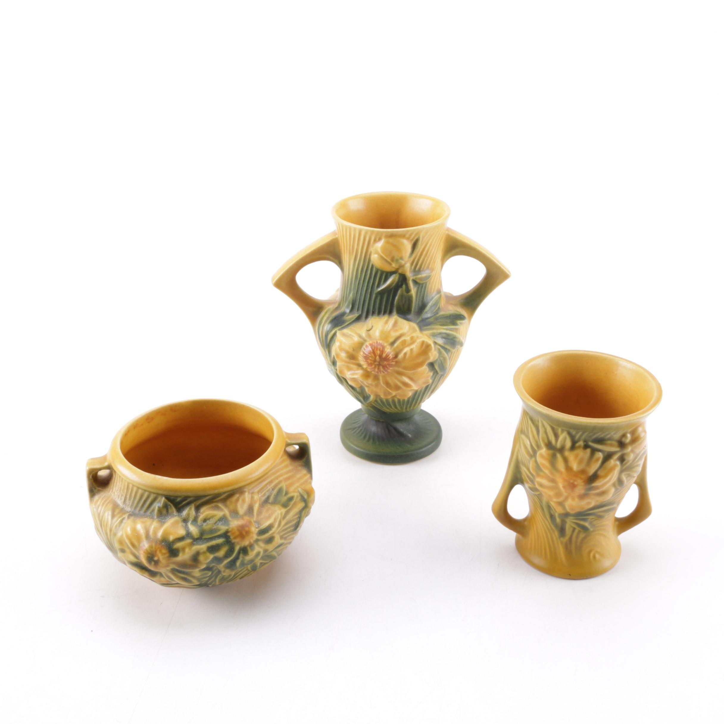 """Collection of Roseville Pottery """"Peony"""" Trophy Vases and Jardinière"""